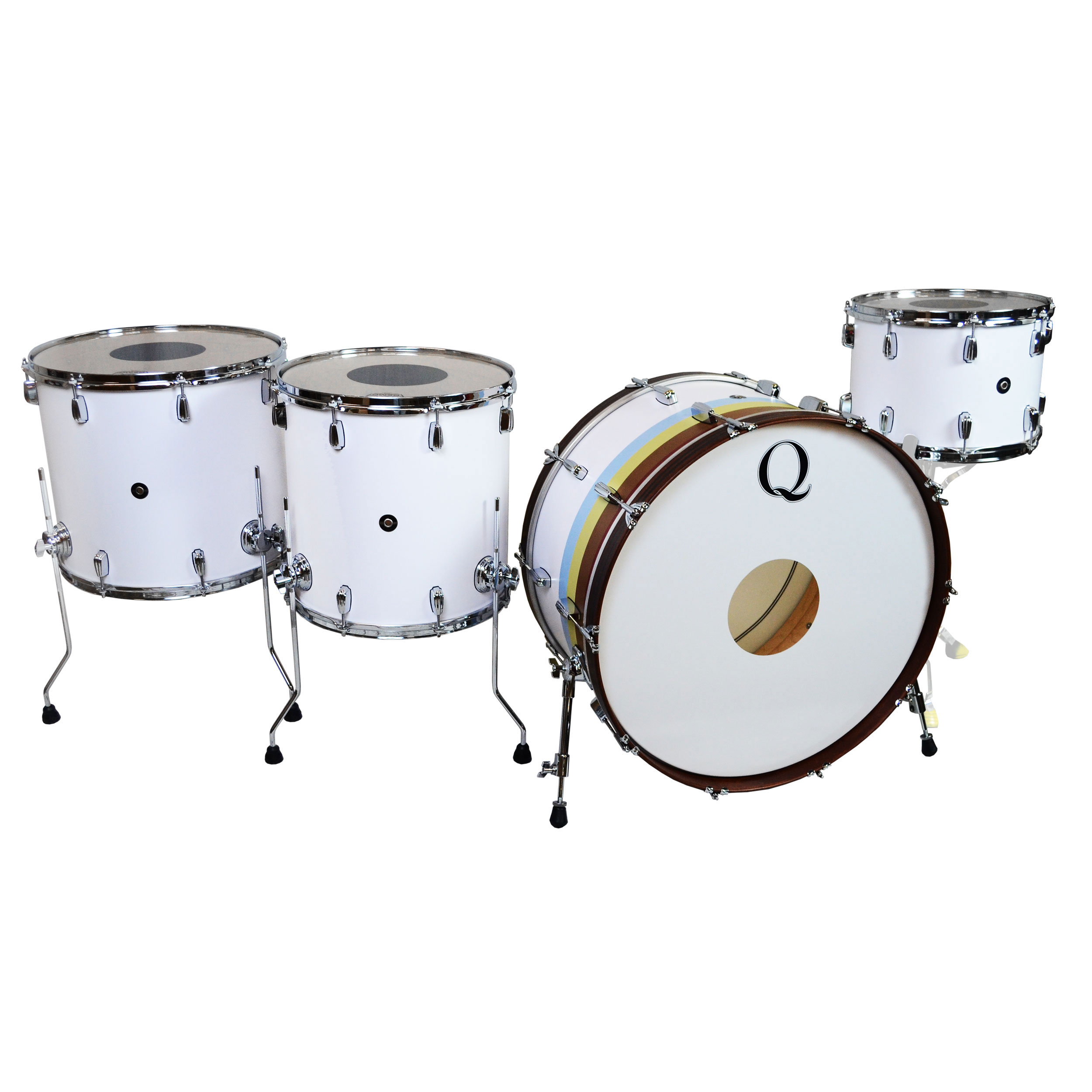 """Q Drum Co. Maple 4-Piece Drum Set Shell Pack (26"""" Bass, 14/16/18"""" Toms) in Flat White & 1974 Stripes"""