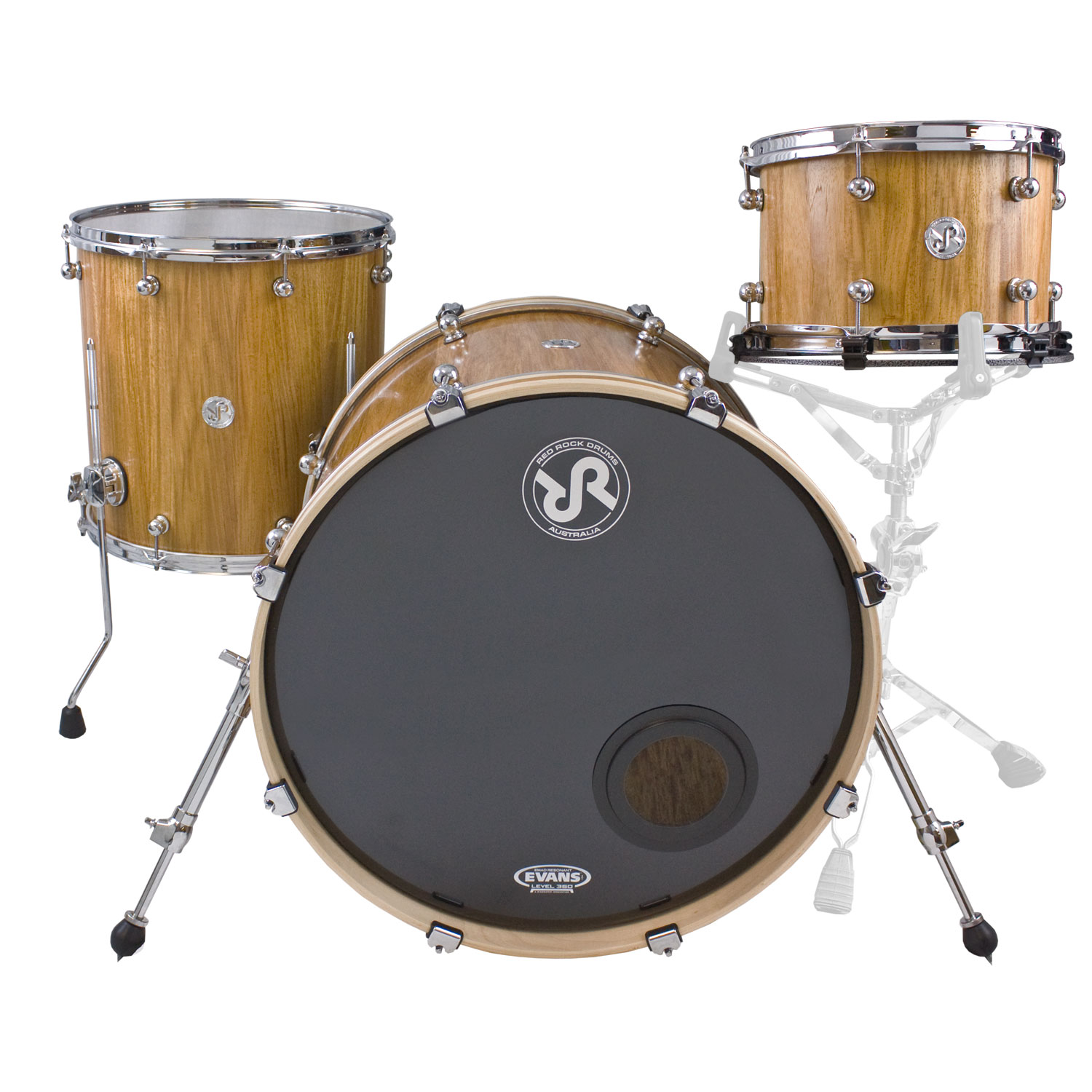 """Red Rock Drums New Guinea Rosewood 3-Piece Drum Set Shell Pack (22"""" Bass, 12/16"""" Toms)"""