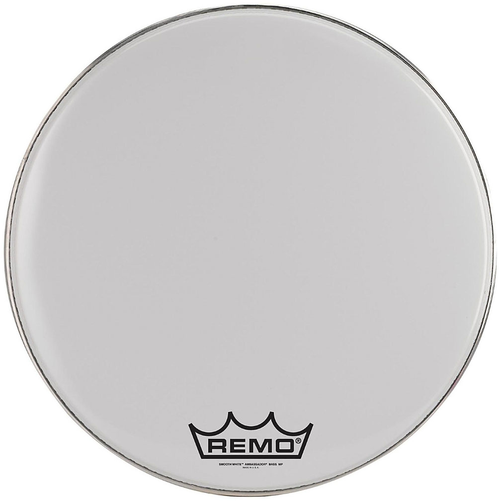 """Remo 32"""" Emperor Smooth White Crimplock Marching Bass Drum Head"""