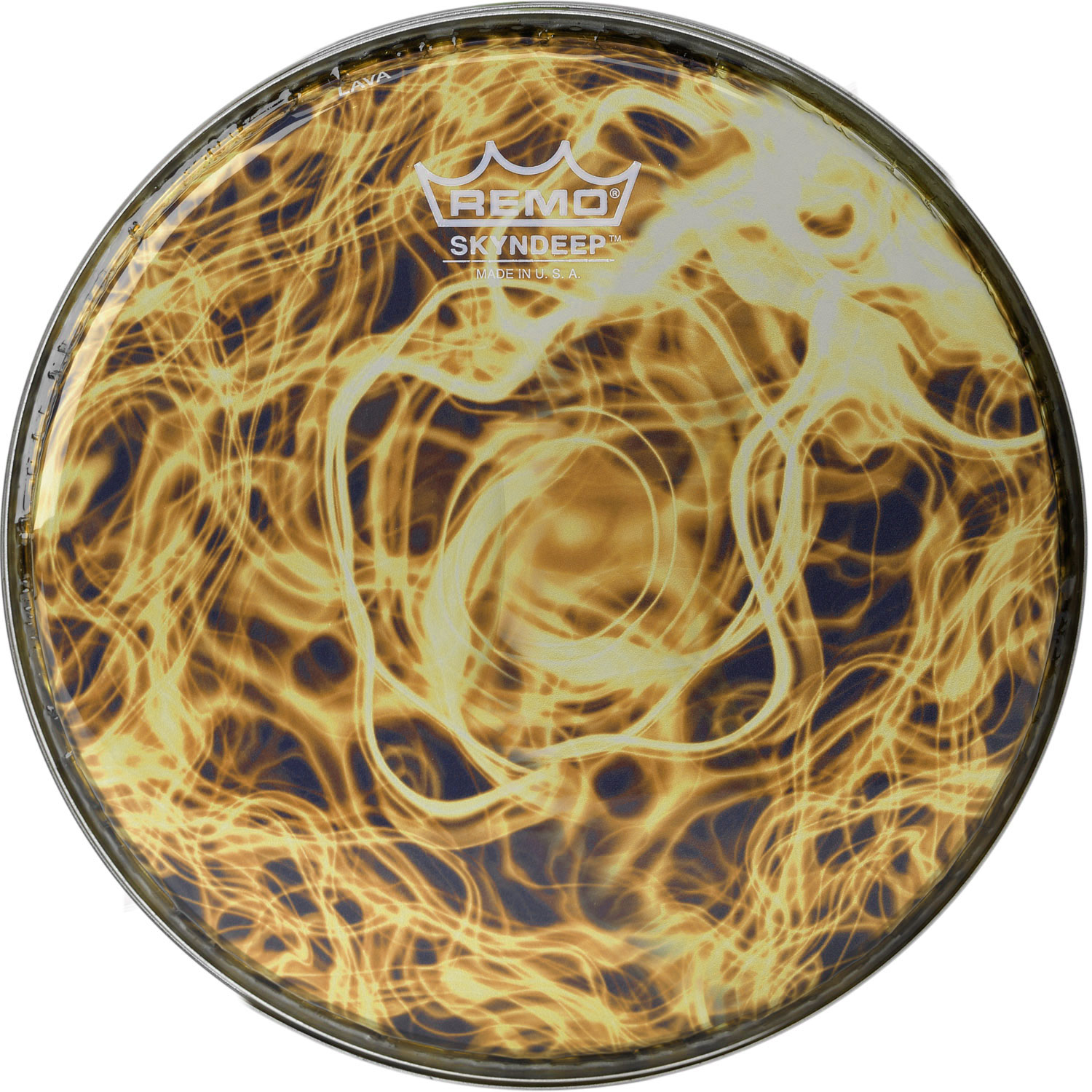"""Remo 8"""" R-Series Skyndeep Doumbek Drum Head with Yellow Wave Graphic"""