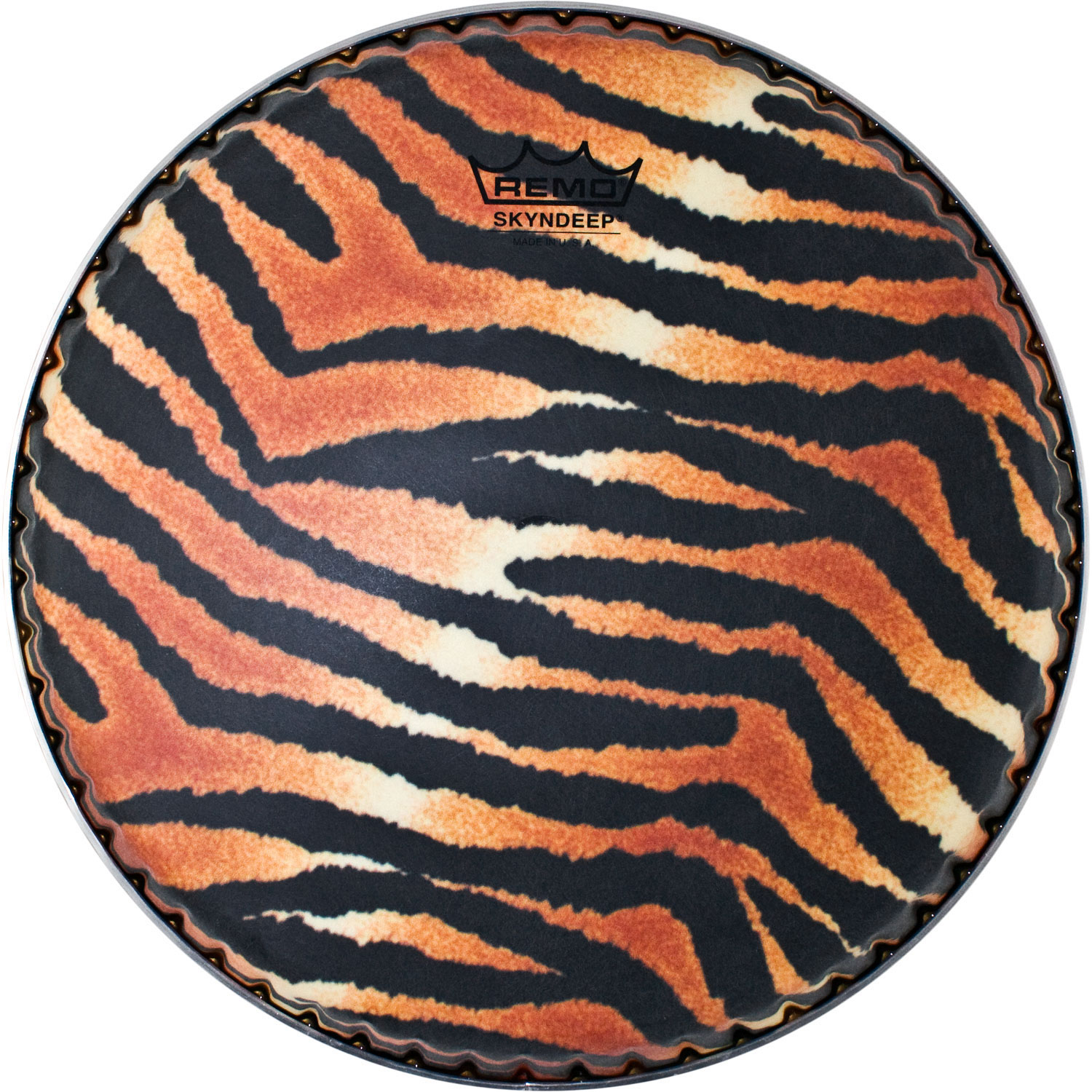 "Remo 12.5"" Symmetry Skyndeep Conga Drum Head (D1 Collar) with Tiger Stripe Graphic"