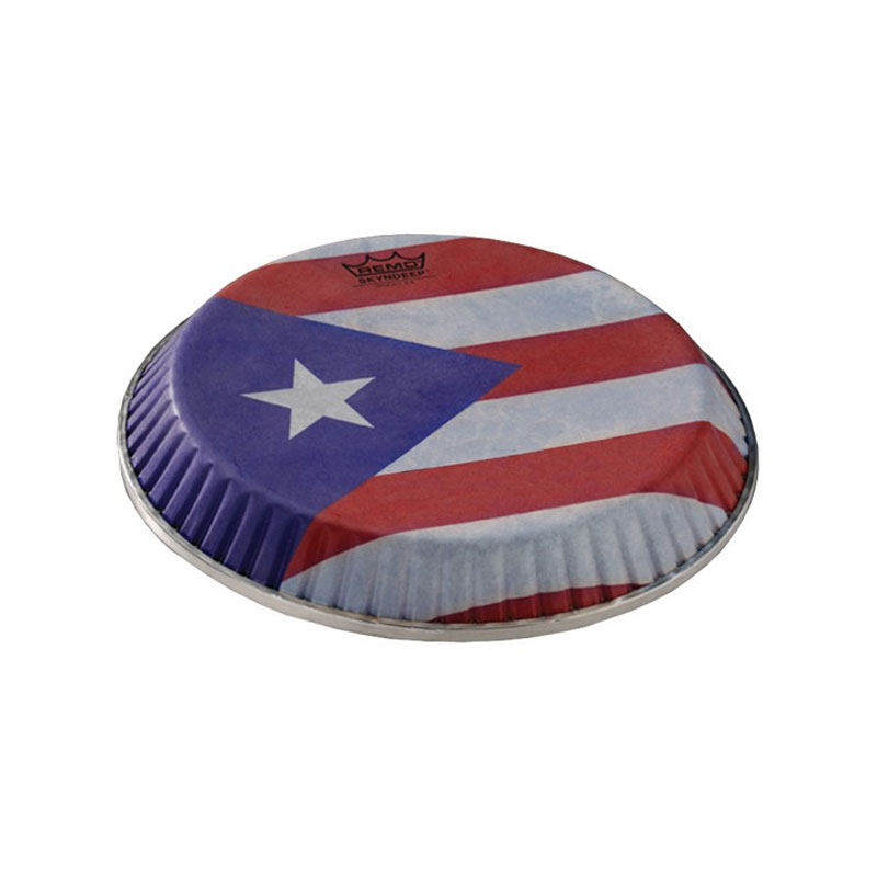 """Remo 9.75"""" Symmetry Skyndeep Conga Drum Head (D1 Collar) with Puerto Rican Flag Graphic"""