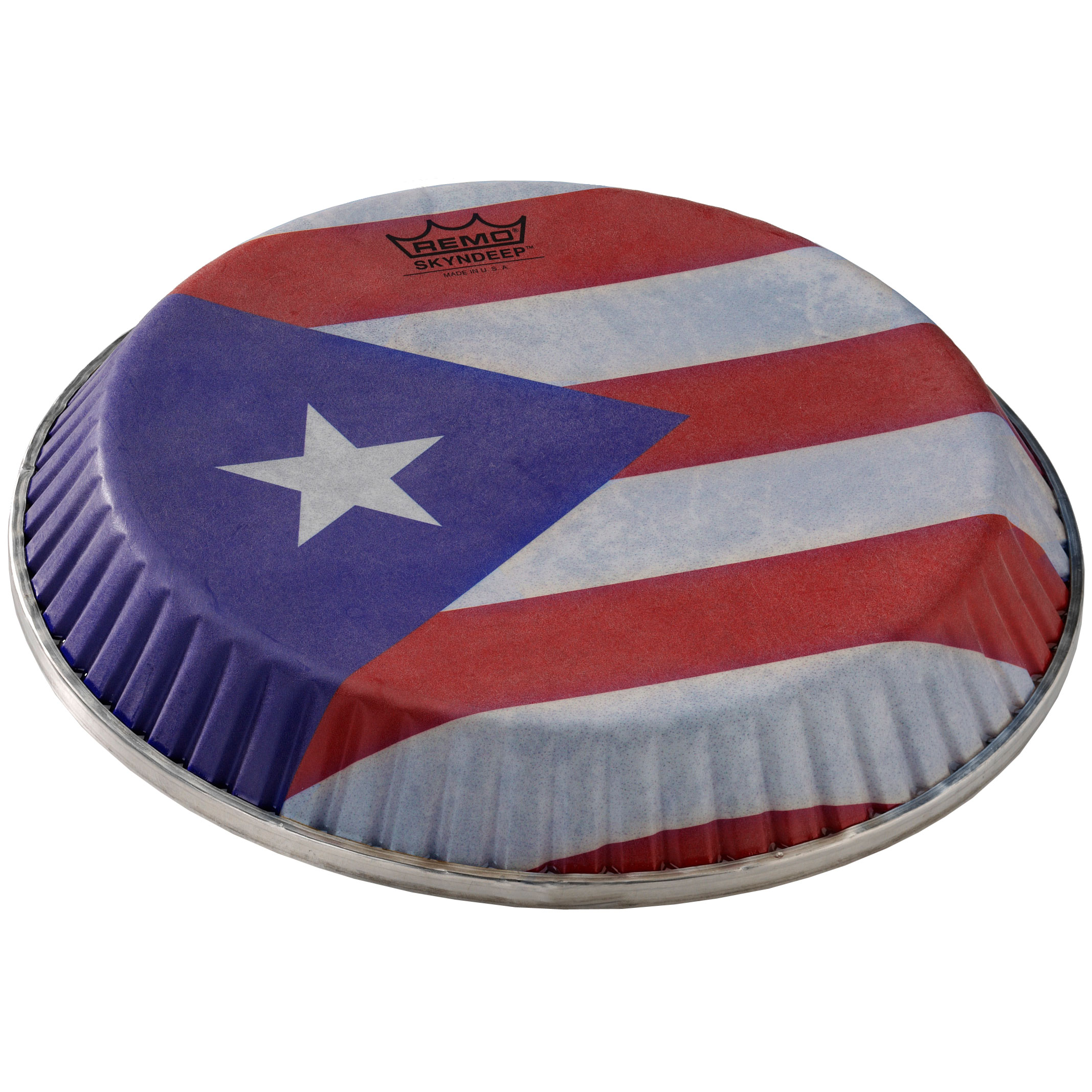 """Remo 13"""" Symmetry Skyndeep Conga Drum Head (D1 Collar) with Puerto Rican Flag Graphic"""