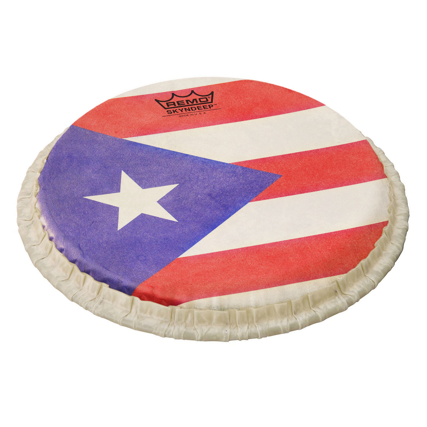 """Remo 11.06"""" Tucked Skyndeep Conga Drum Head with Puerto Rican Flag Graphic"""
