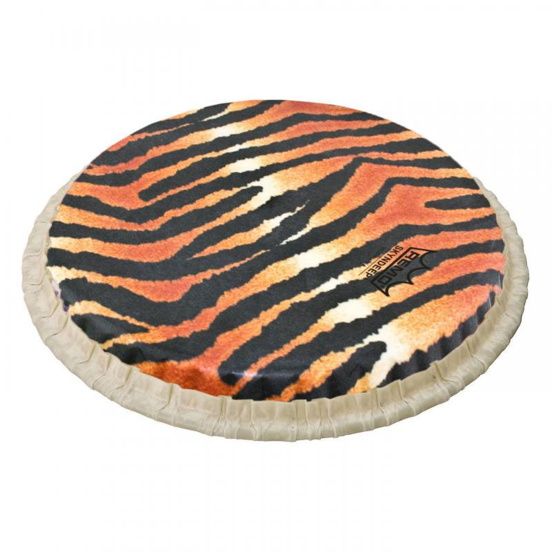 "Remo 8.5"" Tucked Skyndeep Bongo Drum Head with Tiger Stripe Graphic"
