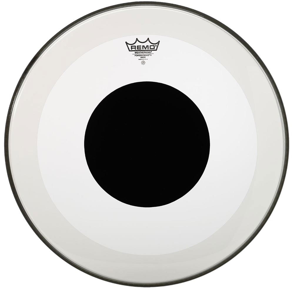 """Remo 20"""" Powerstroke P3 Clear Bass Drum Head with Black Dot"""