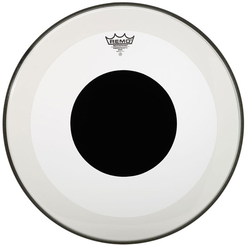"Remo 24"" Powerstroke P3 Clear Bass Drum Head with Black Dot"