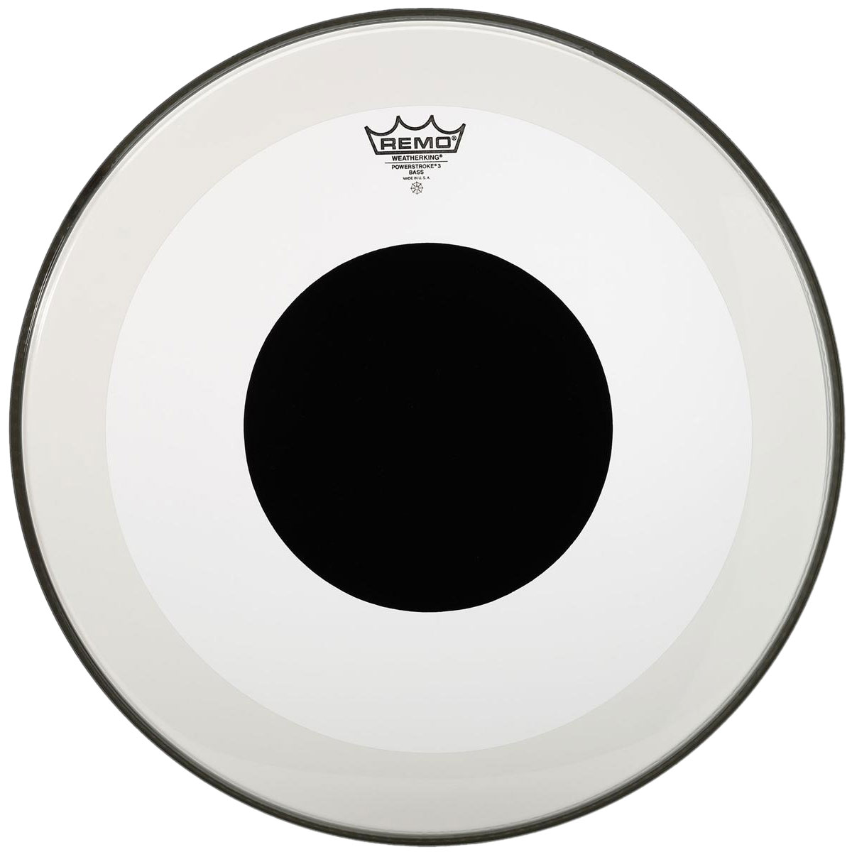 "Remo 18"" Powerstroke P3 Clear Bass Drum Head with Black Dot"