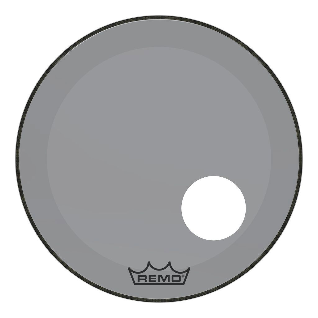 """Remo 22"""" Powerstroke P3 Colortone Smoke Bass Drum Head with 5"""" Offset Hole"""