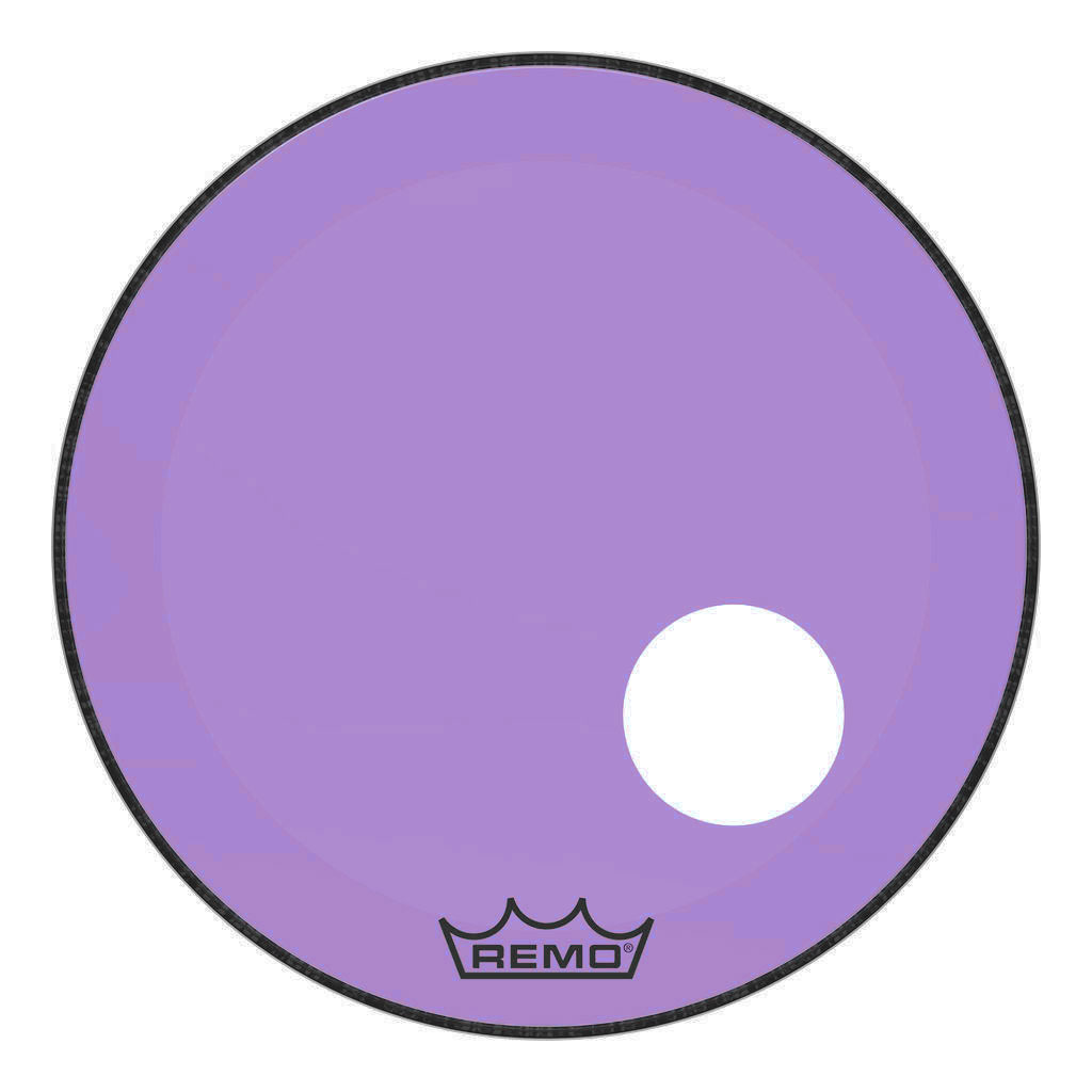 "Remo 24"" Powerstroke P3 Colortone Purple Bass Drum Head with 5"" Offset Hole"