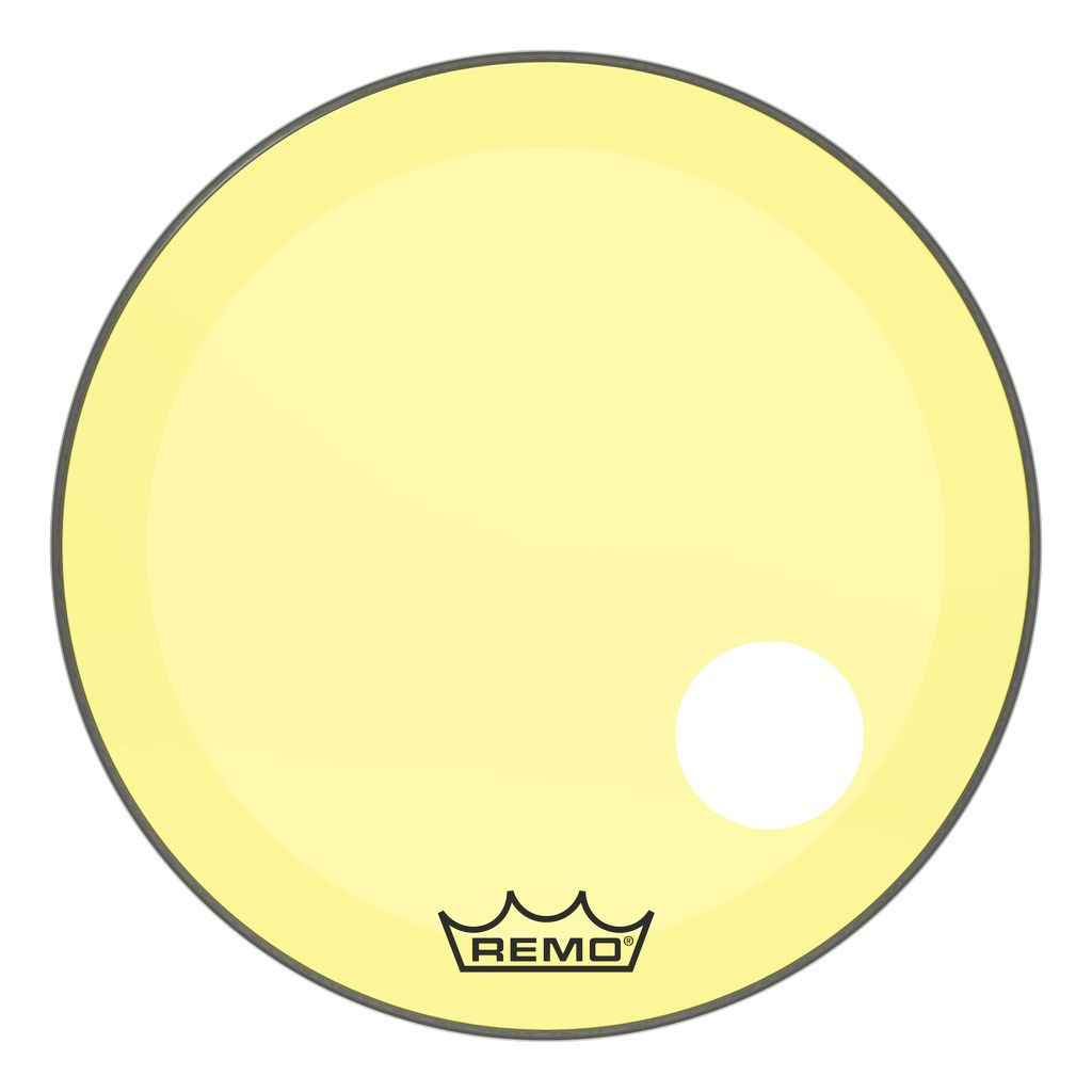 "Remo 24"" Powerstroke P3 Colortone Yellow Bass Drum Head with 5"" Offset Hole"