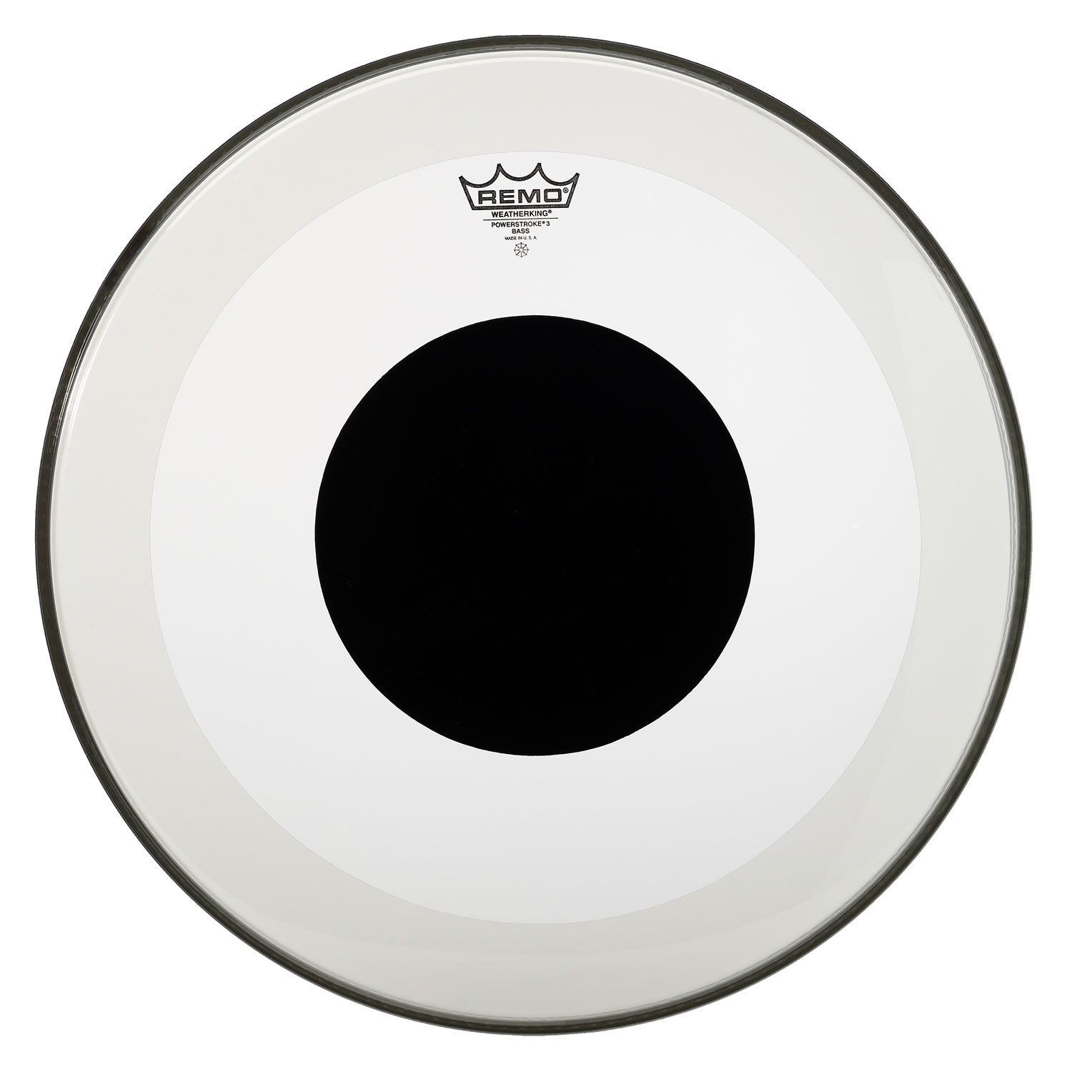 "Remo 26"" Powerstroke P3 Clear Bass Drum Head with Black Dot"
