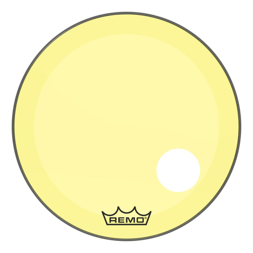 "Remo 26"" Powerstroke P3 Colortone Yellow Bass Drum Head with 5"" Offset Hole"