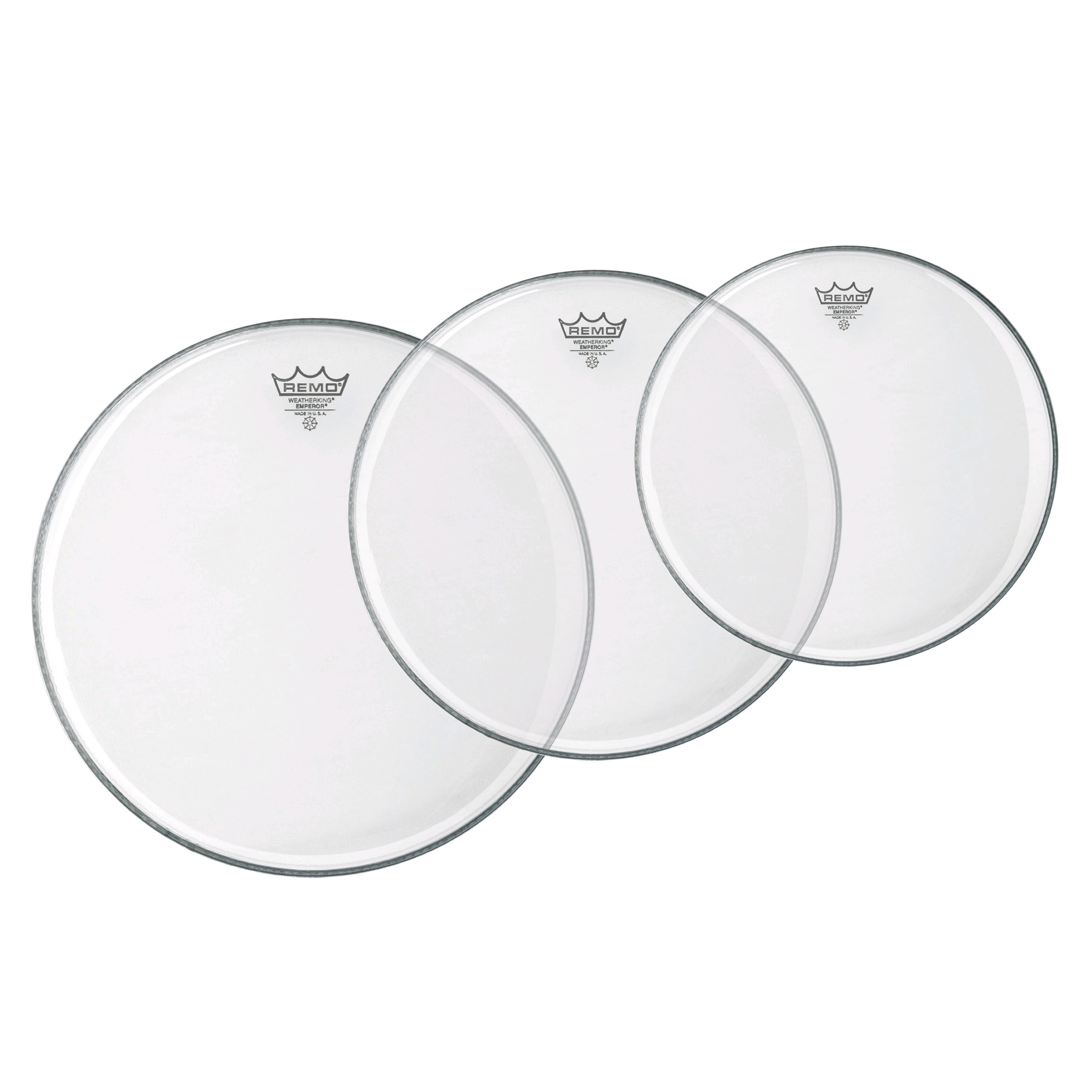 "Remo 10""/12""/16"" Emperor Clear Tom Drum Head Pack"