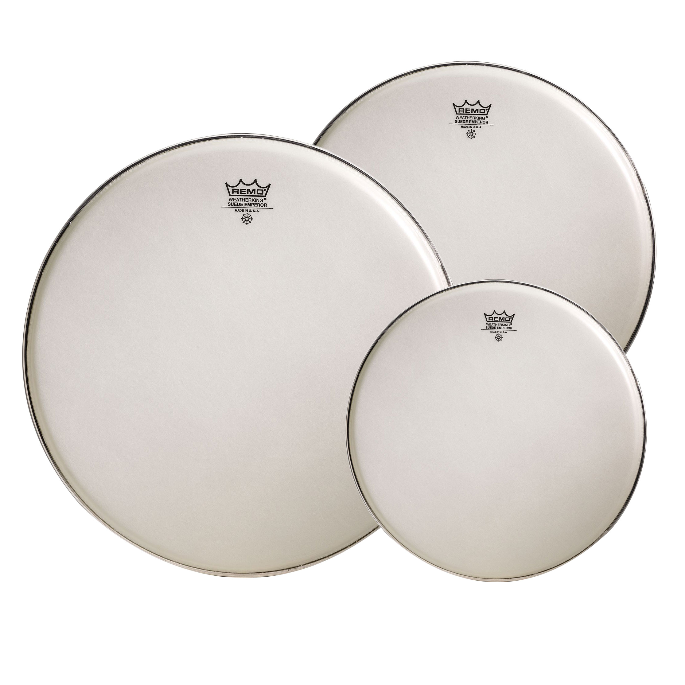"Remo 10""/12""/16"" Emperor White Suede Tom Drum Head Pack"