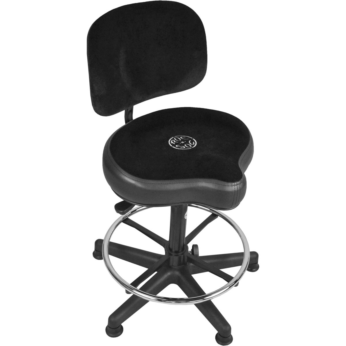Roc-n-Soc Lunar Gas Lift Drum Throne with Foot Ring, Original Seat, & Back Rest in Black