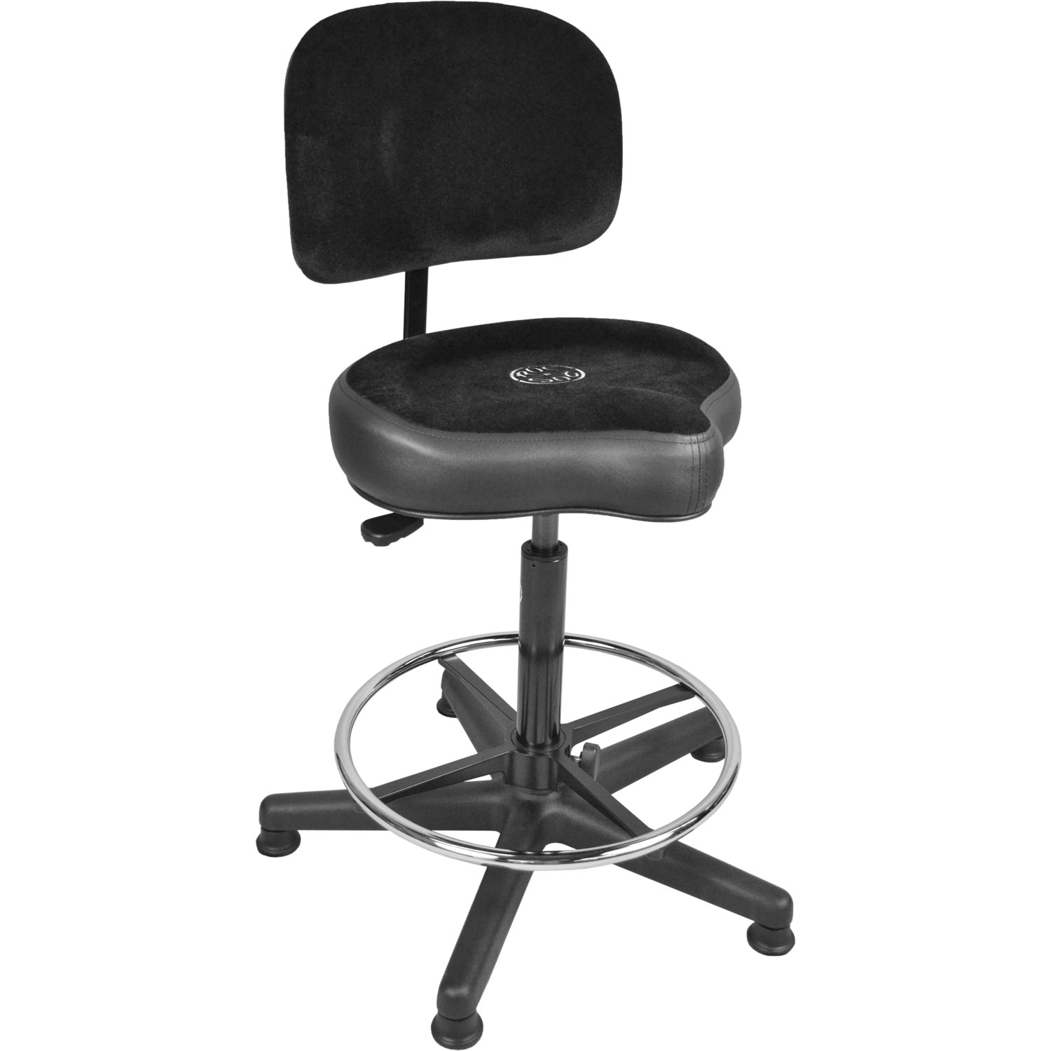 Roc-n-Soc Lunar Extended Gas Lift Timpani/Drum Throne with Foot Ring, Original Seat, & Back Rest in Black