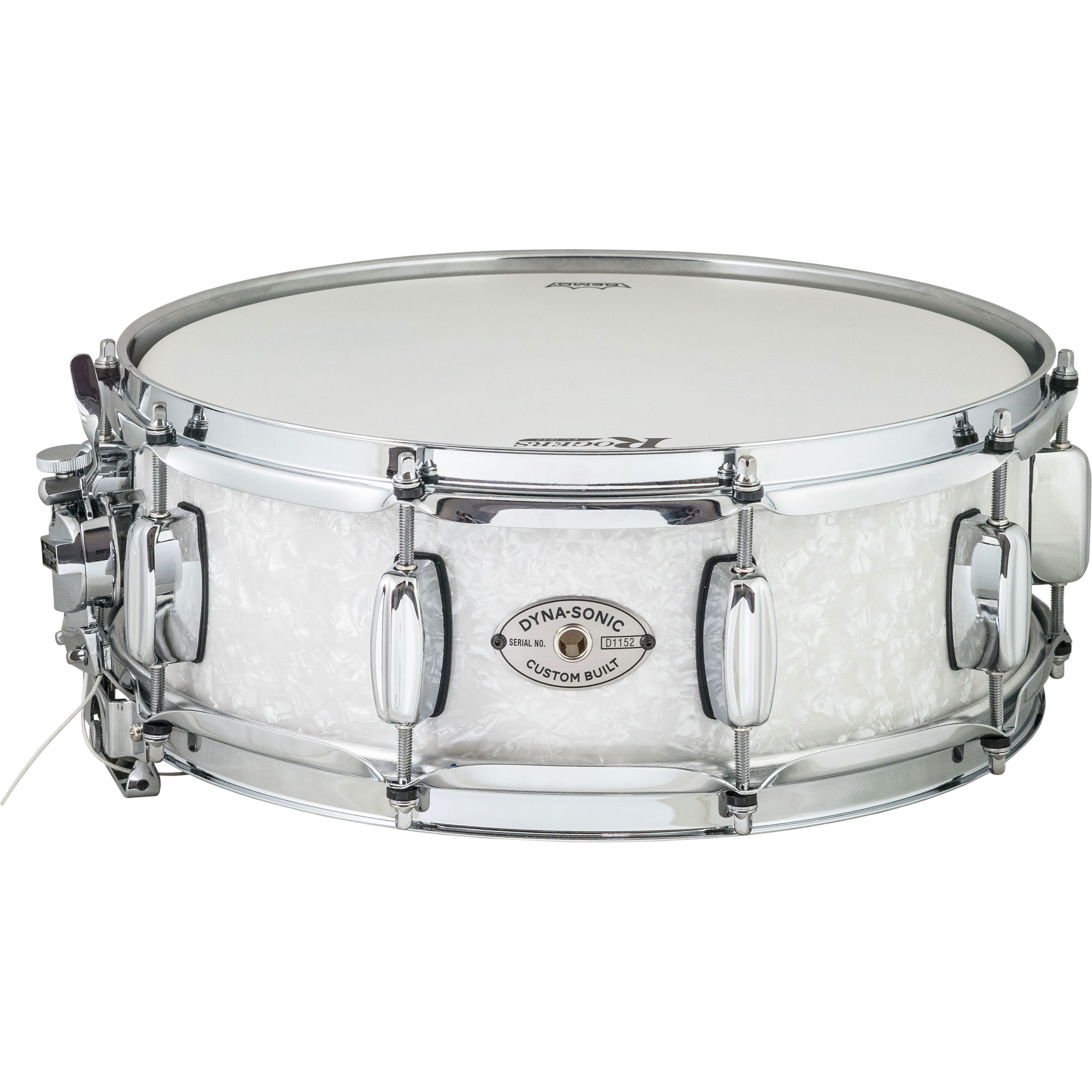 "Rogers 5"" x 14"" Dyna-Sonic Wood Shell Snare Drum in White Marine Pearl"