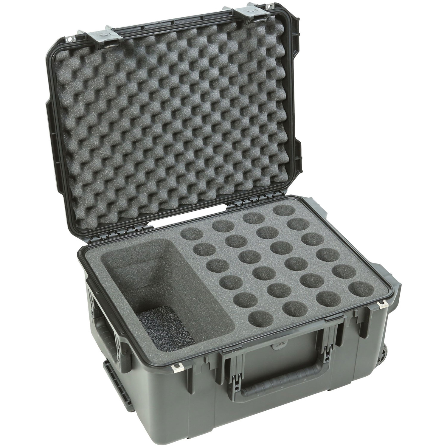 SKB iSeries Injection Molded Foam-Lined Waterproof Case for Microphones (24) with Storage Compartment and Wheels