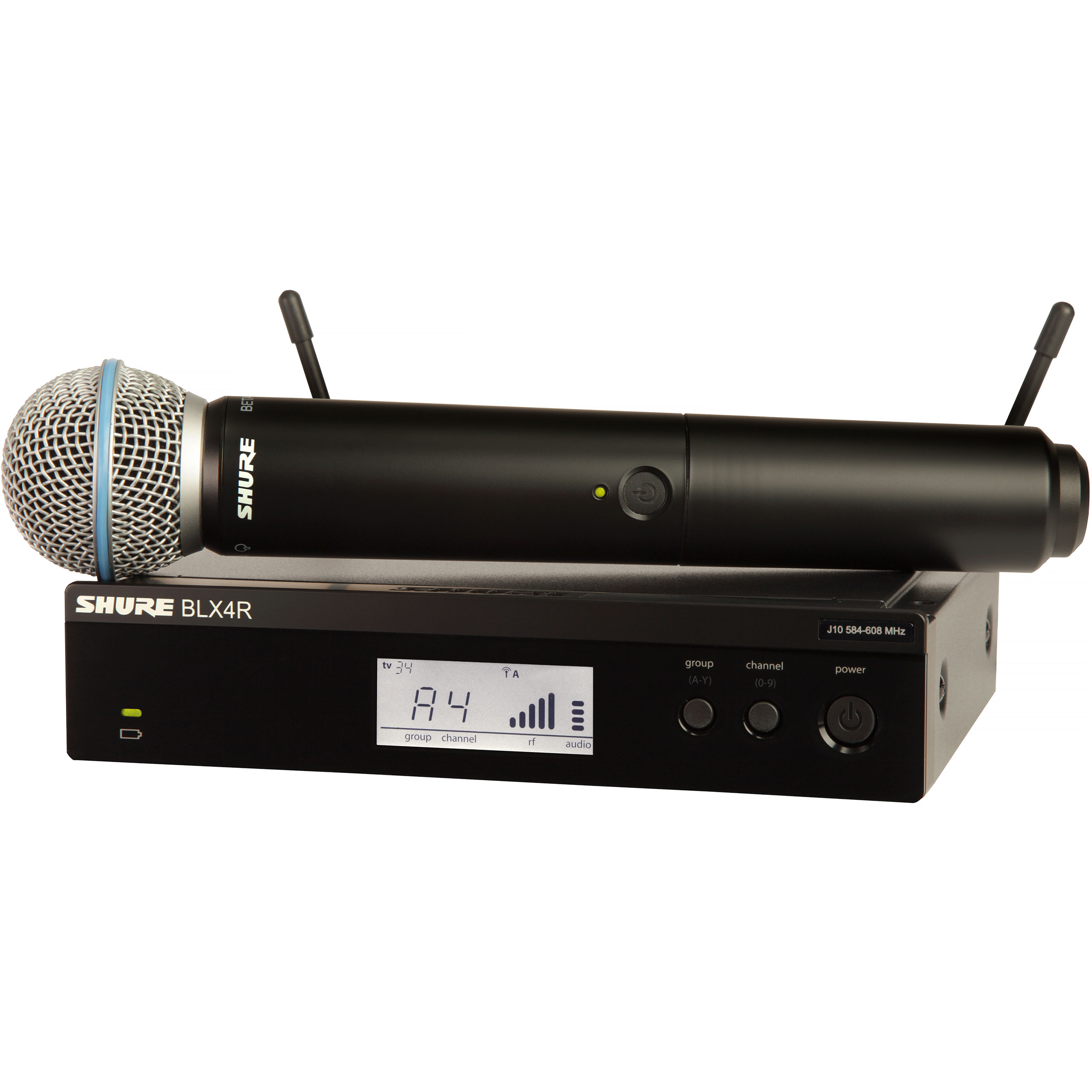 Shure BLX Wireless System with BETA58 Microphone, BLX2 Handheld Transmitter, and BLX4R Receiver
