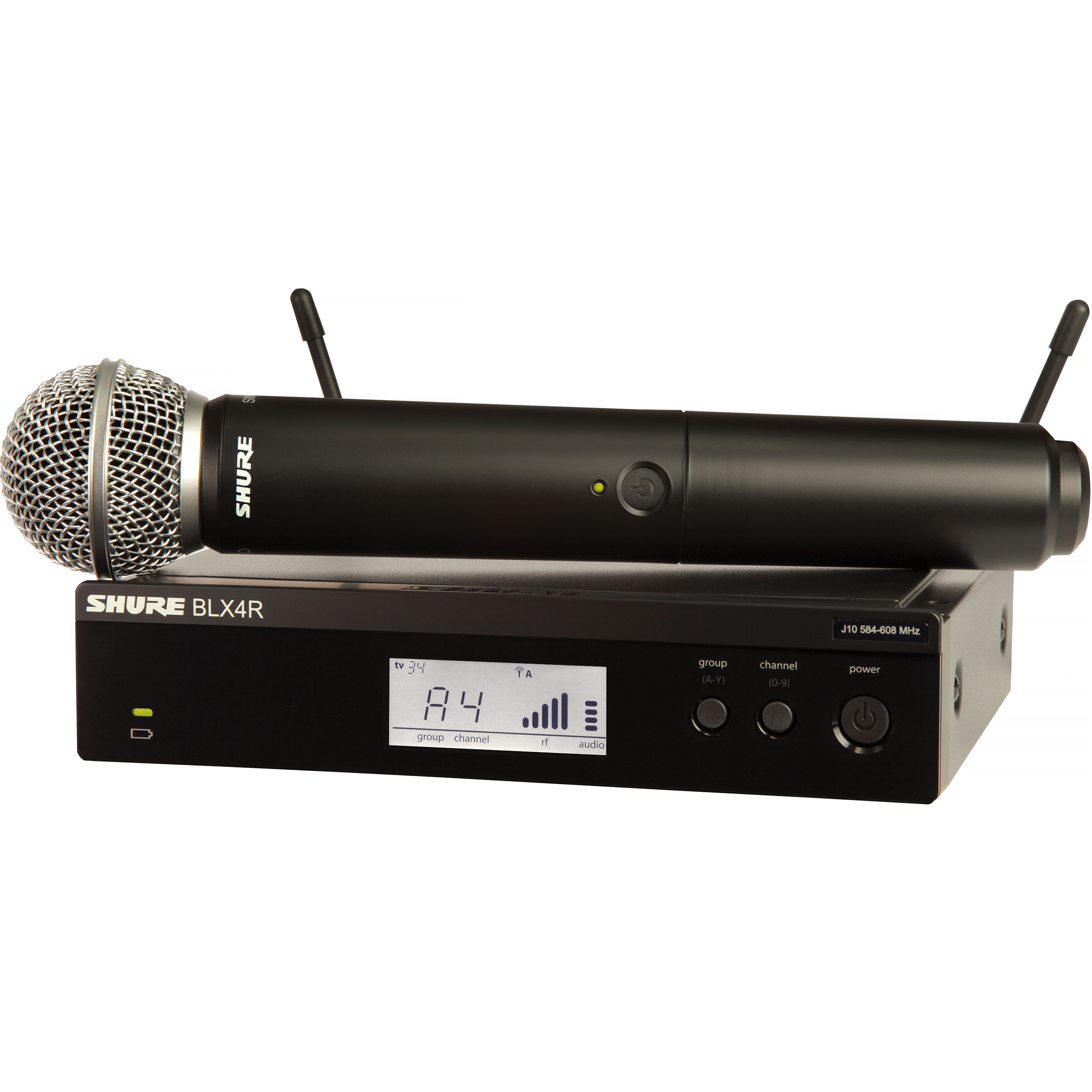Shure BLX Wireless System with SM58 Microphone, BLX2 Handheld Transmitter, and BLX4R Receiver