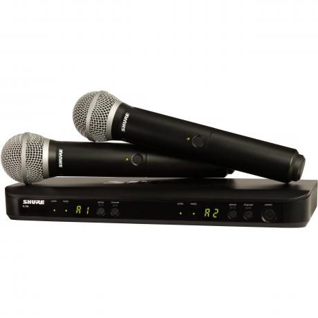 Shure BLX 2-Channel Wireless System with 2 x PG58 Microphones, 2 x BLX2 Handheld Transmitters, and BLX88 Receiver