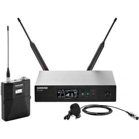 Shure QLX-D Wireless System with WL185 Lavalier Microphone, QLXD1 Bodypack Transmitter, and QLXD4 Receiver