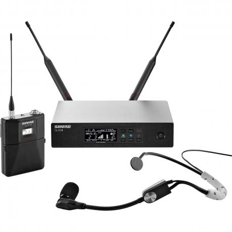 Shure QLX-D Wireless System with SM35 Headset Microphone, QLXD1 Bodypack Transmitter, and QLXD4 Receiver