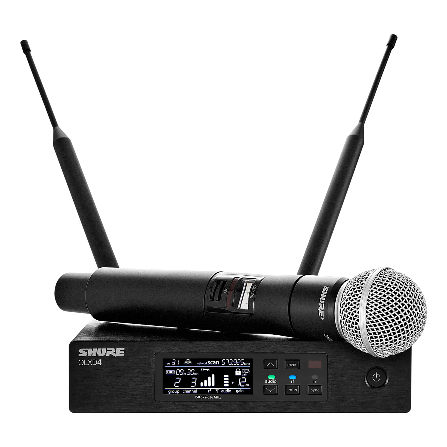 Shure QLX-D Wireless System with SM58 Microphone, QLXD2 Handheld Transmitter, and QLXD4 Receiver