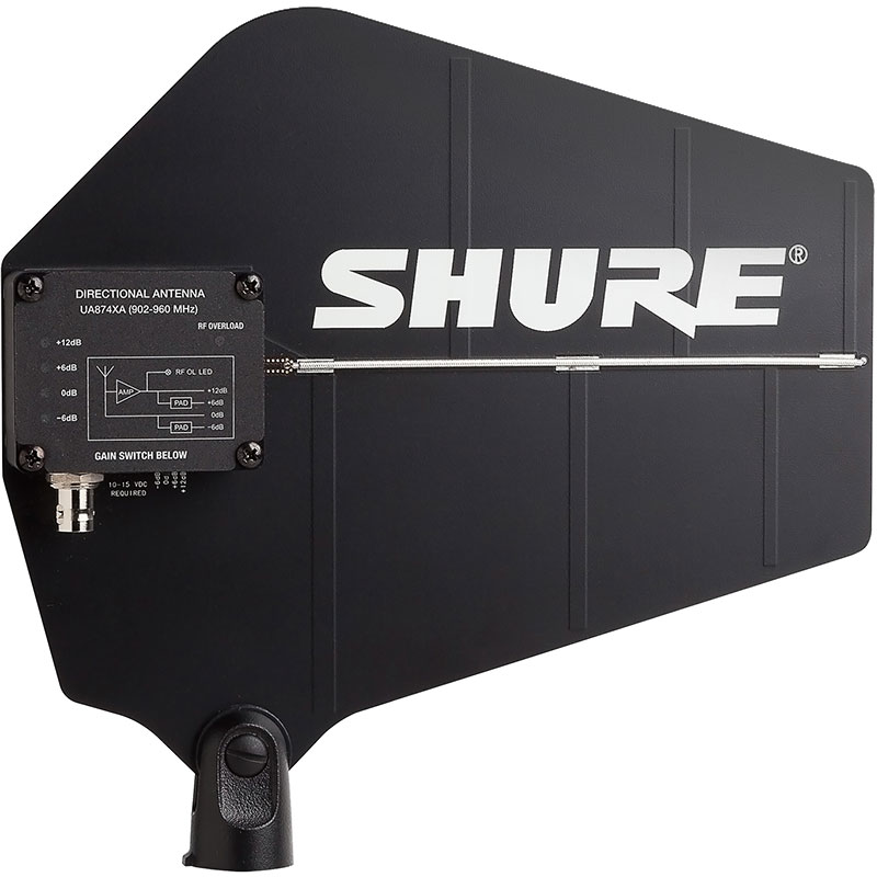 Shure Active Directional UHF Antenna with Integrated Amplifier (902-960 MHz) for QLX-D Wireless Systems (X52 Band)