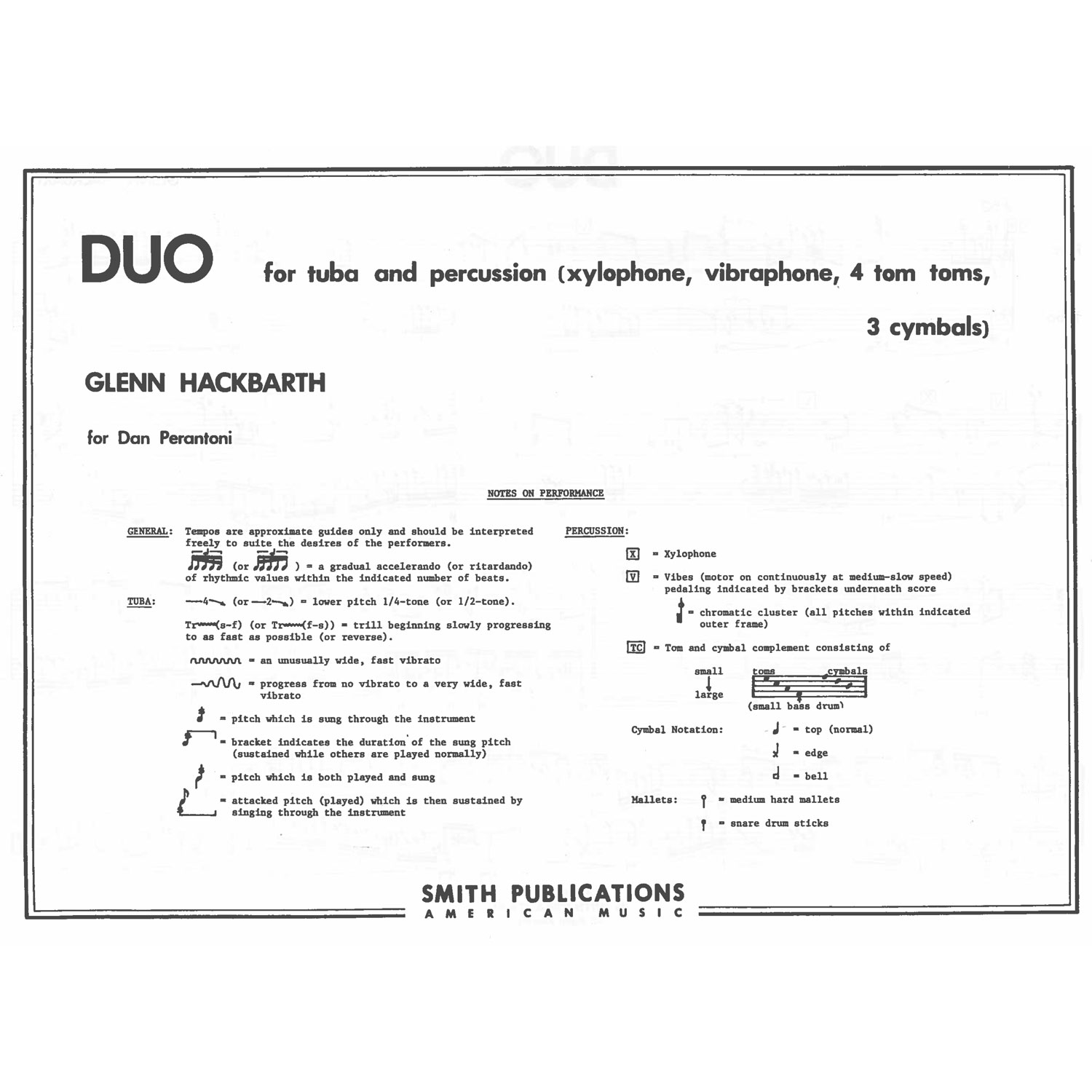 Duo for Tuba and Percussion by Glenn Hackbarth