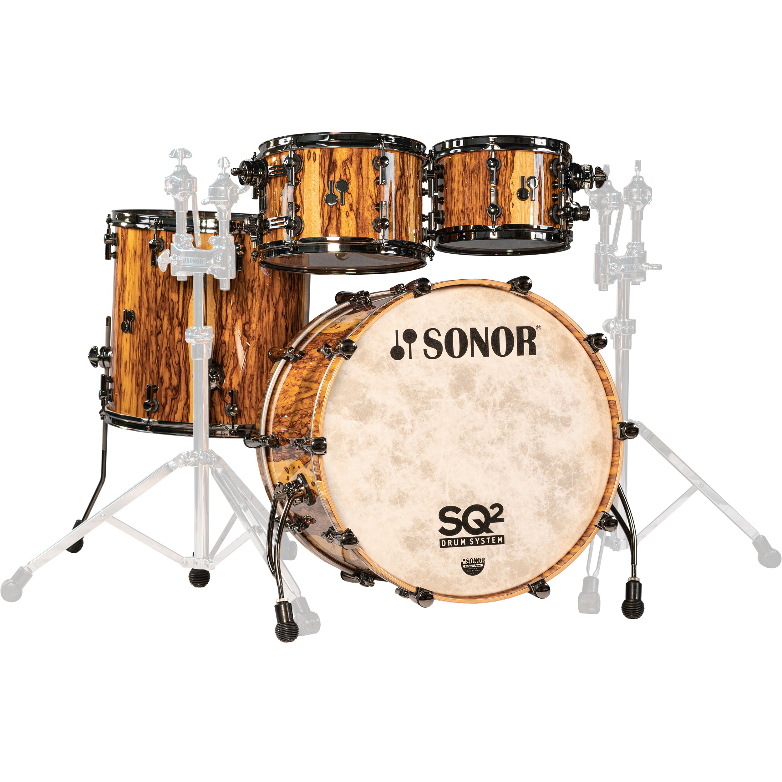 "Sonor SQ2 Custom Vintage Maple 4-Piece Drum Set Shell Pack (22"" Bass, 10/12/16"" Toms) in African Marble with Black Chrome Hardware"