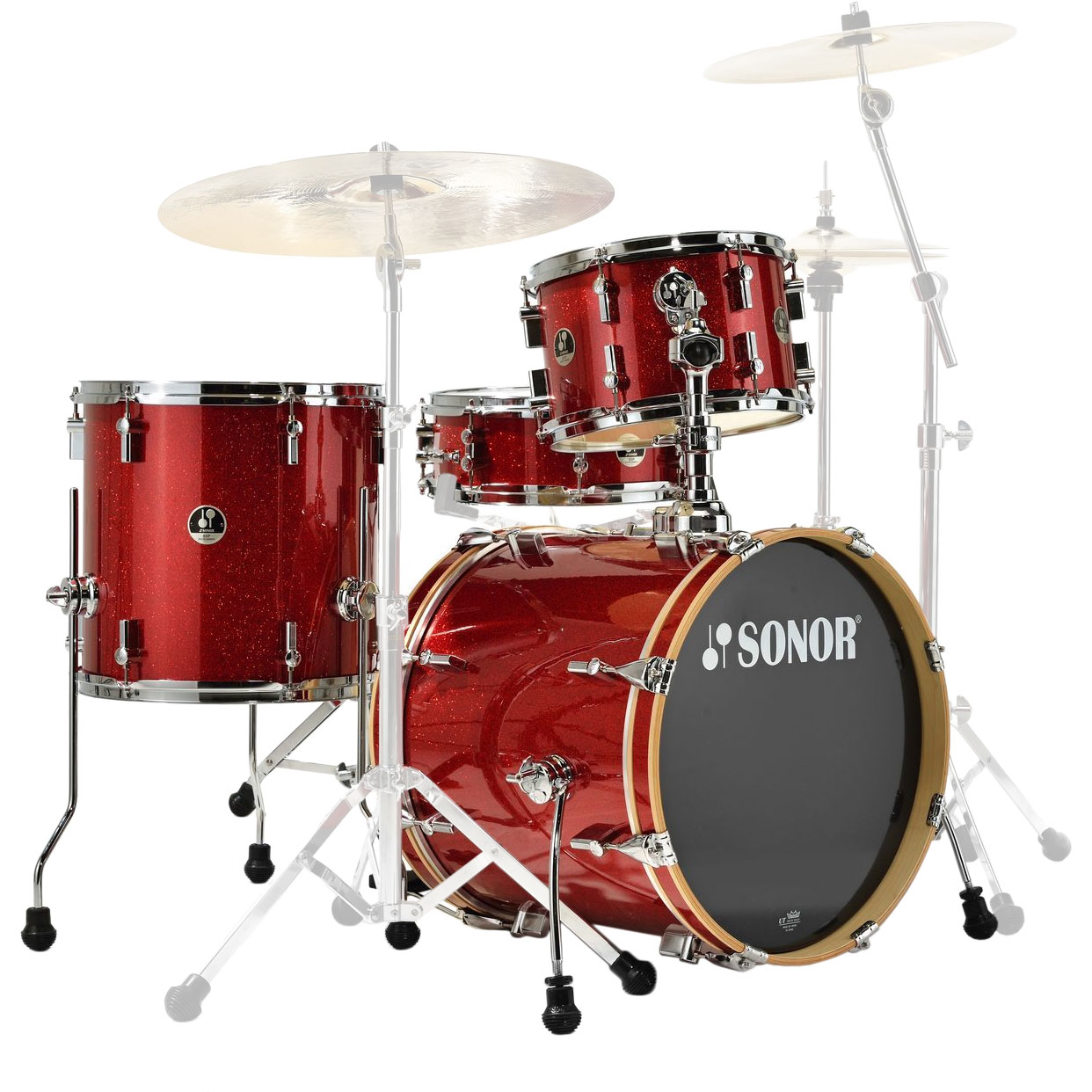 """Sonor Special Edition Bop 4-Piece Drum Set Shell Pack (18"""" Bass, 12/14"""" Toms, 14"""" Snare) in Red Galaxy Sparkle"""