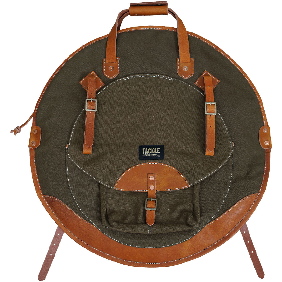 """Tackle Instrument Supply Co. 24"""" Black Canvas/Tan Leather Cymbal Bag"""