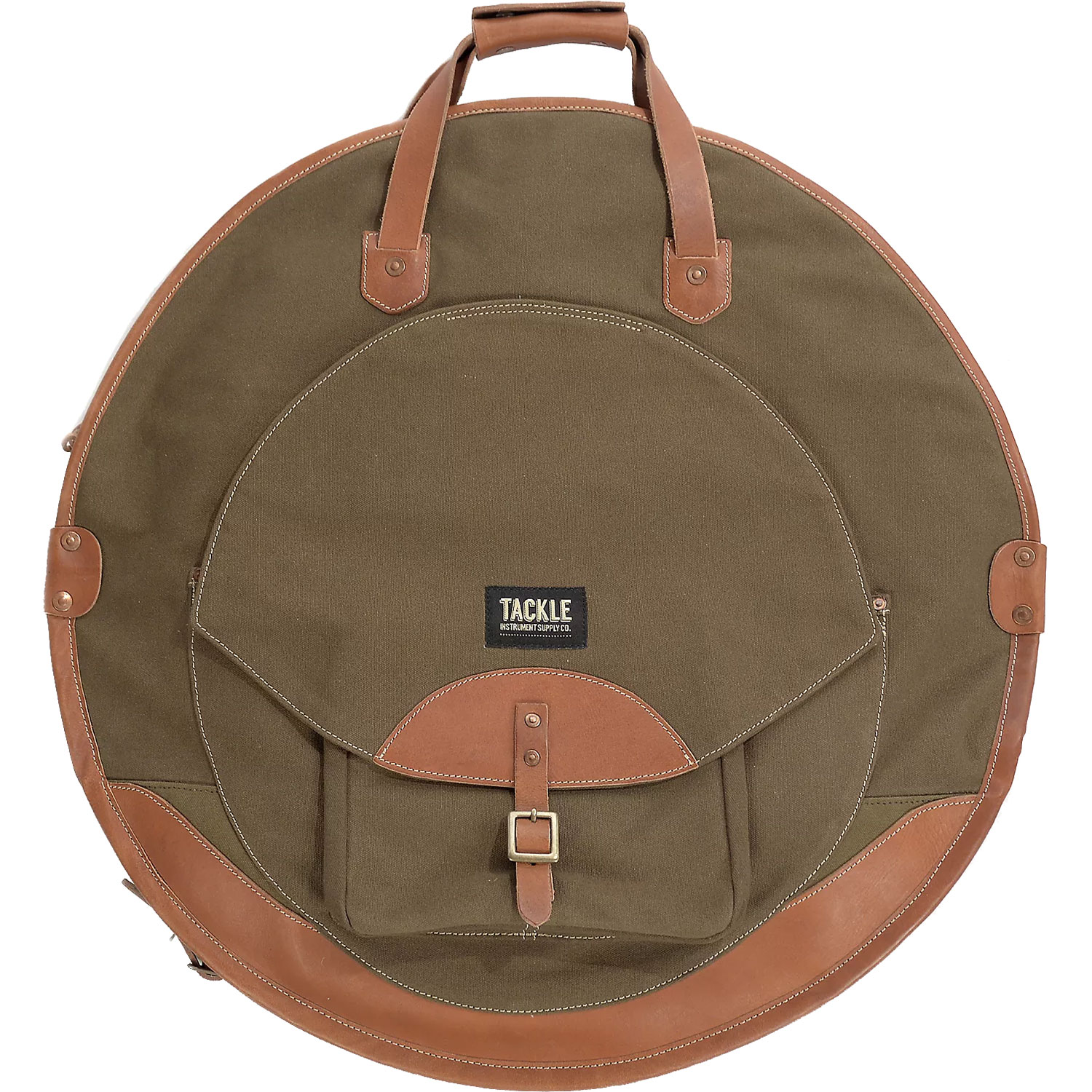 "Tackle Instrument Supply Co. 24"" Black Canvas/Tan Leather Cymbal Bag"
