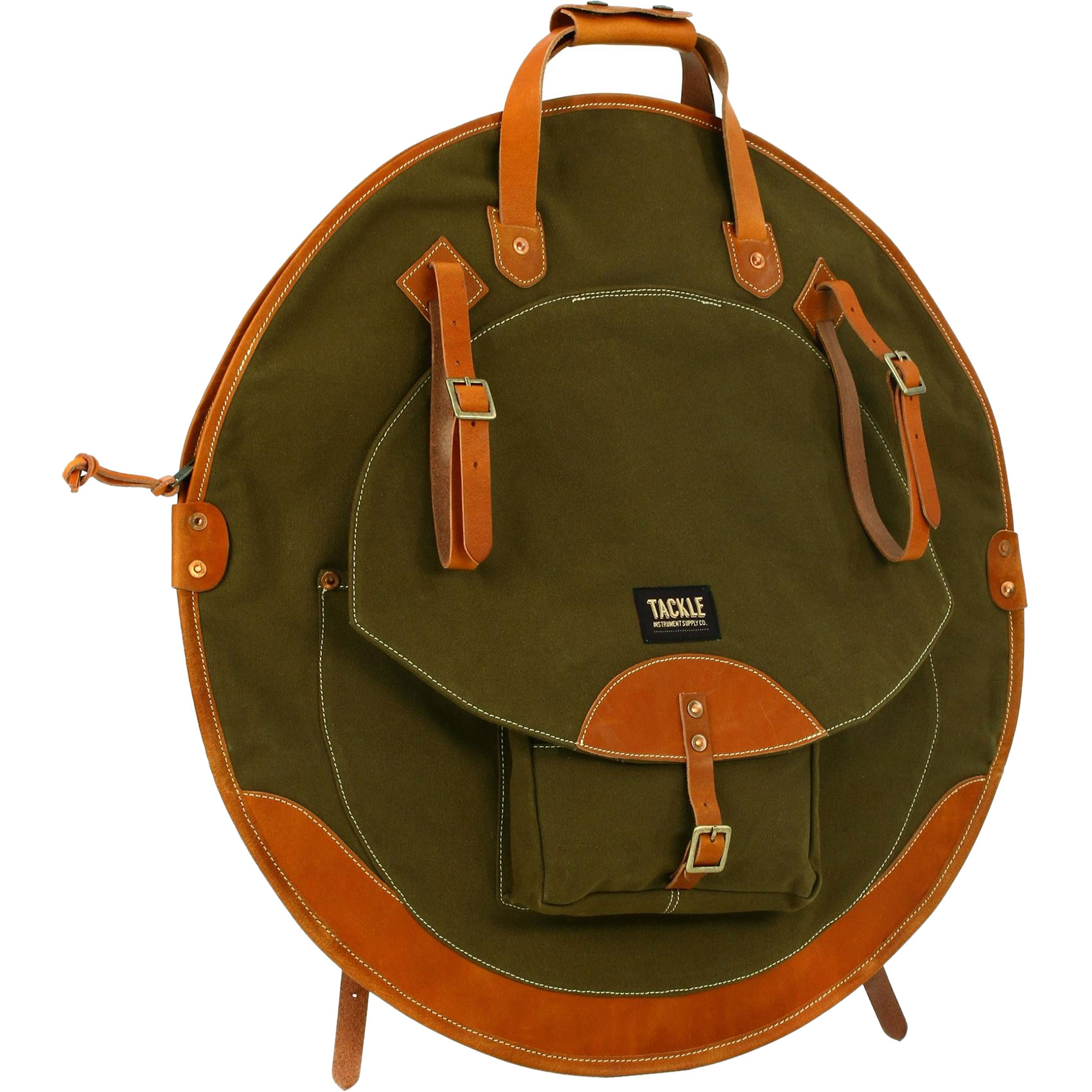 "Tackle Instrument Supply Co. 24"" Forest Green Canvas/Tan Leather Cymbal Bag"