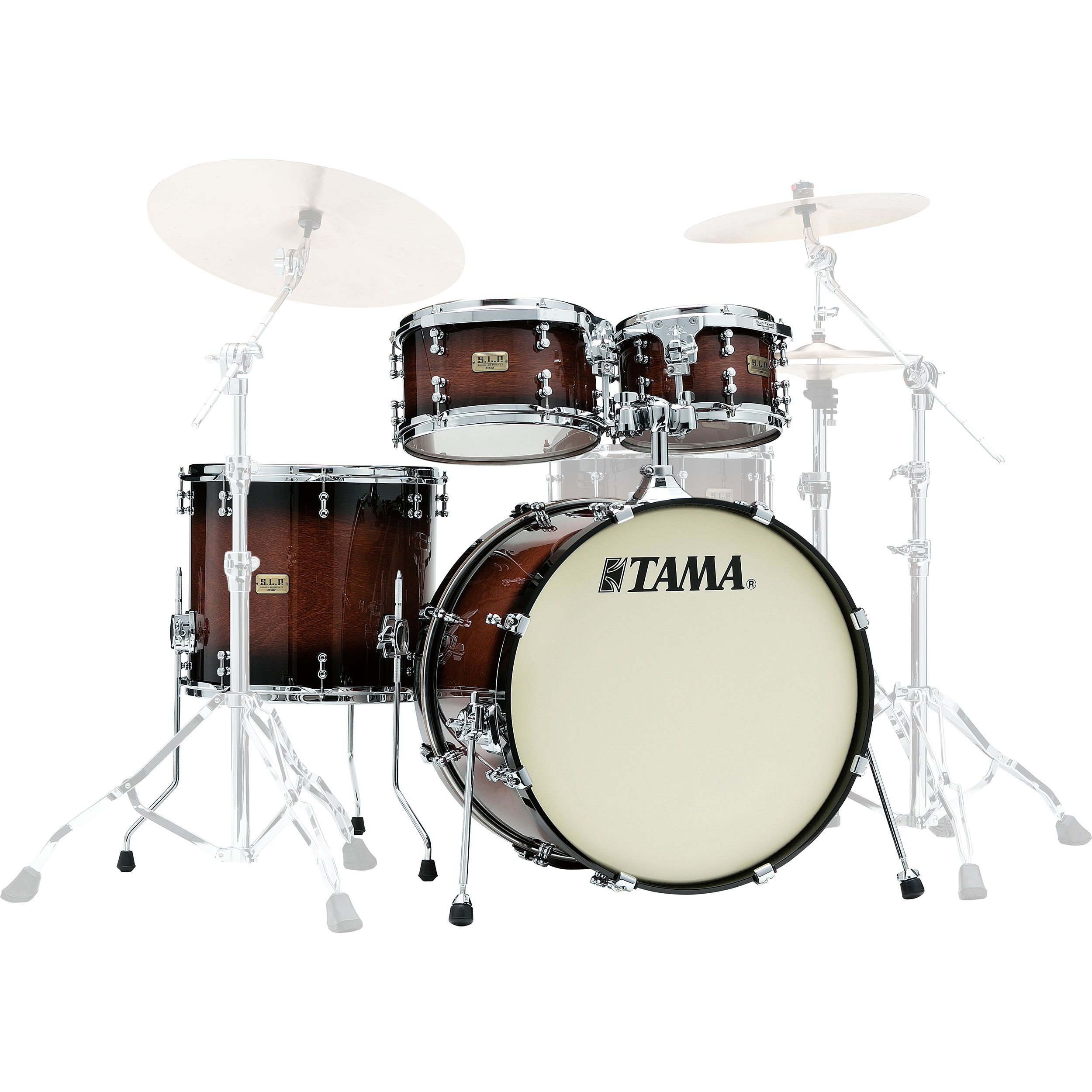 "Tama S.L.P. Dynamic Kapur 4-Piece Drum Set Shell Pack (22"" Bass, 10/12/16"" Toms) in Gloss Black Kapur Burst"
