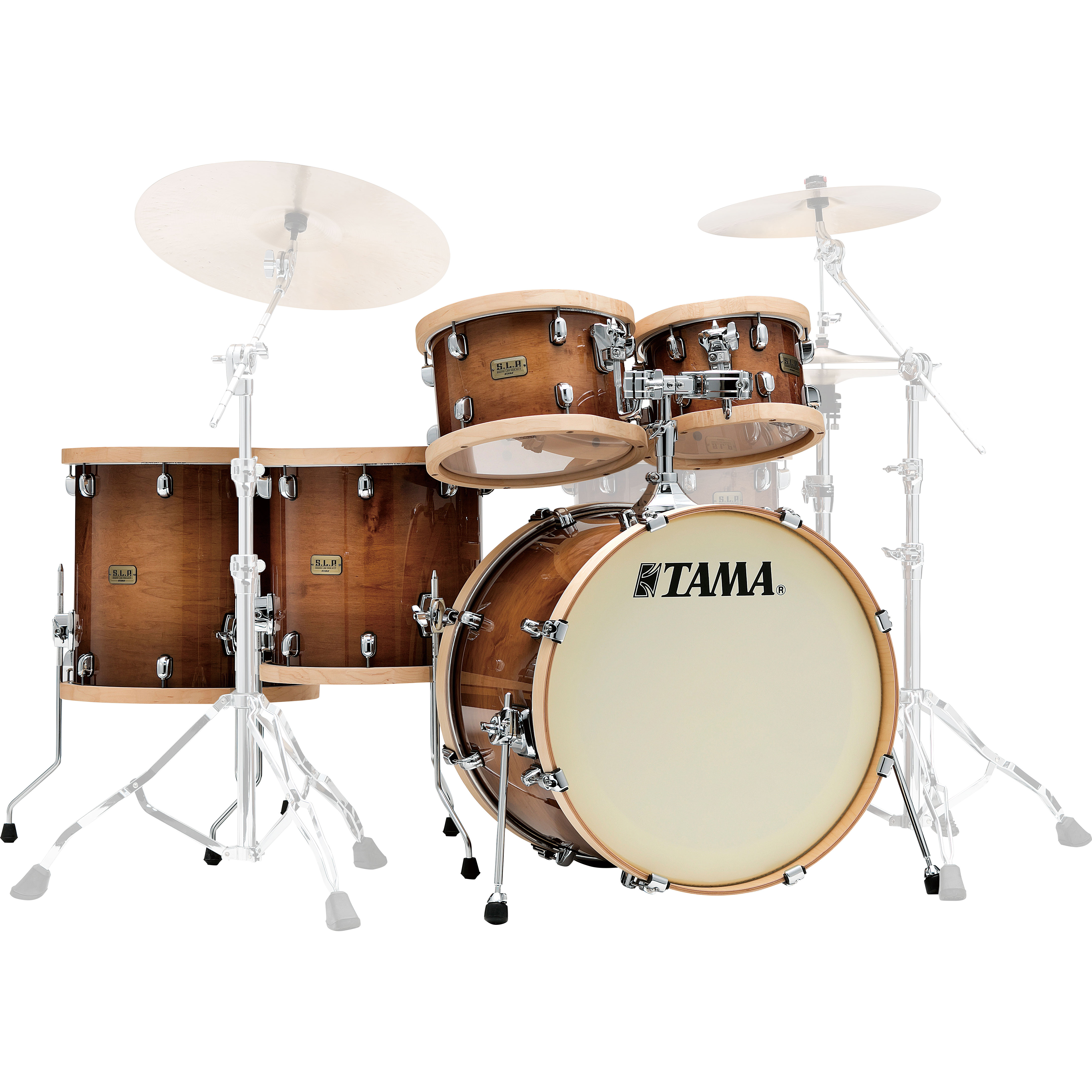 "Tama S.L.P. Studio Maple 5-Piece Drum Set Shell Pack (22"" Bass, 10/12/14/16"" Toms) in Gloss Sienna"