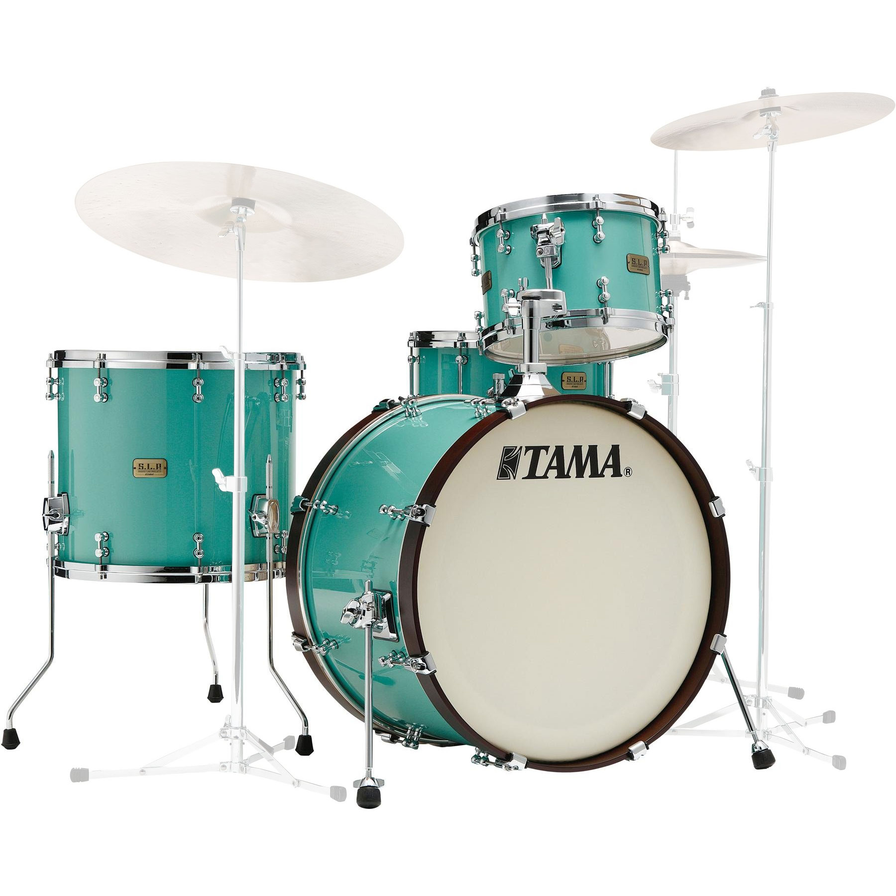 "Tama S.L.P. Fat Spruce 3-Piece Drum Set Shell Pack (22"" Bass, 12/16"" Toms) in Turquoise"
