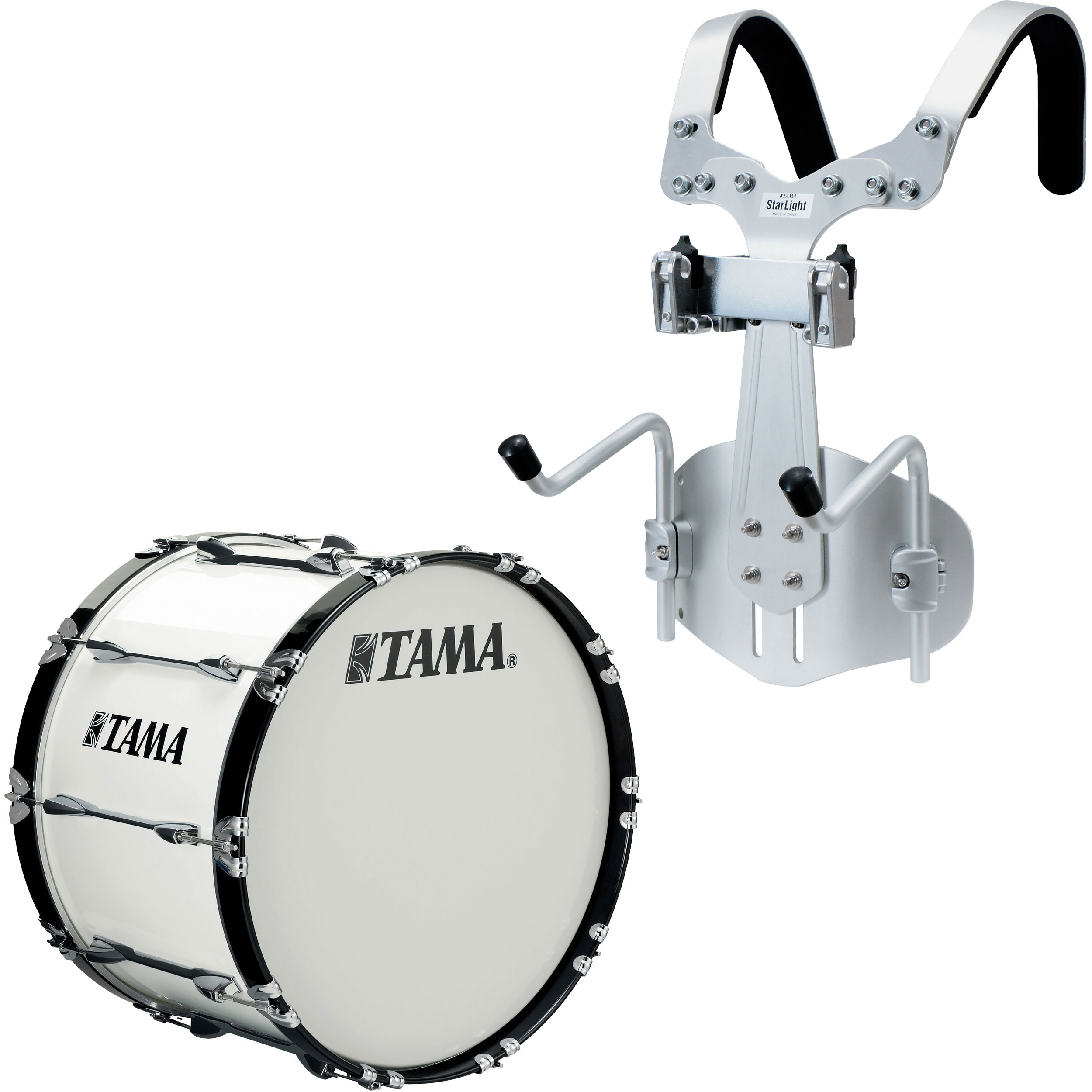 "Tama 22"" StarLight Marching Bass Drum in Sugar White Wrap with Carrier"