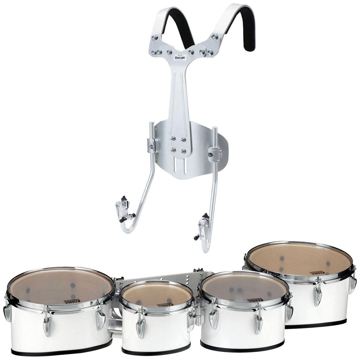 "Tama 8-10-12-13"" StarLight Marching Tenors in Sugar White Wrap with Carrier"