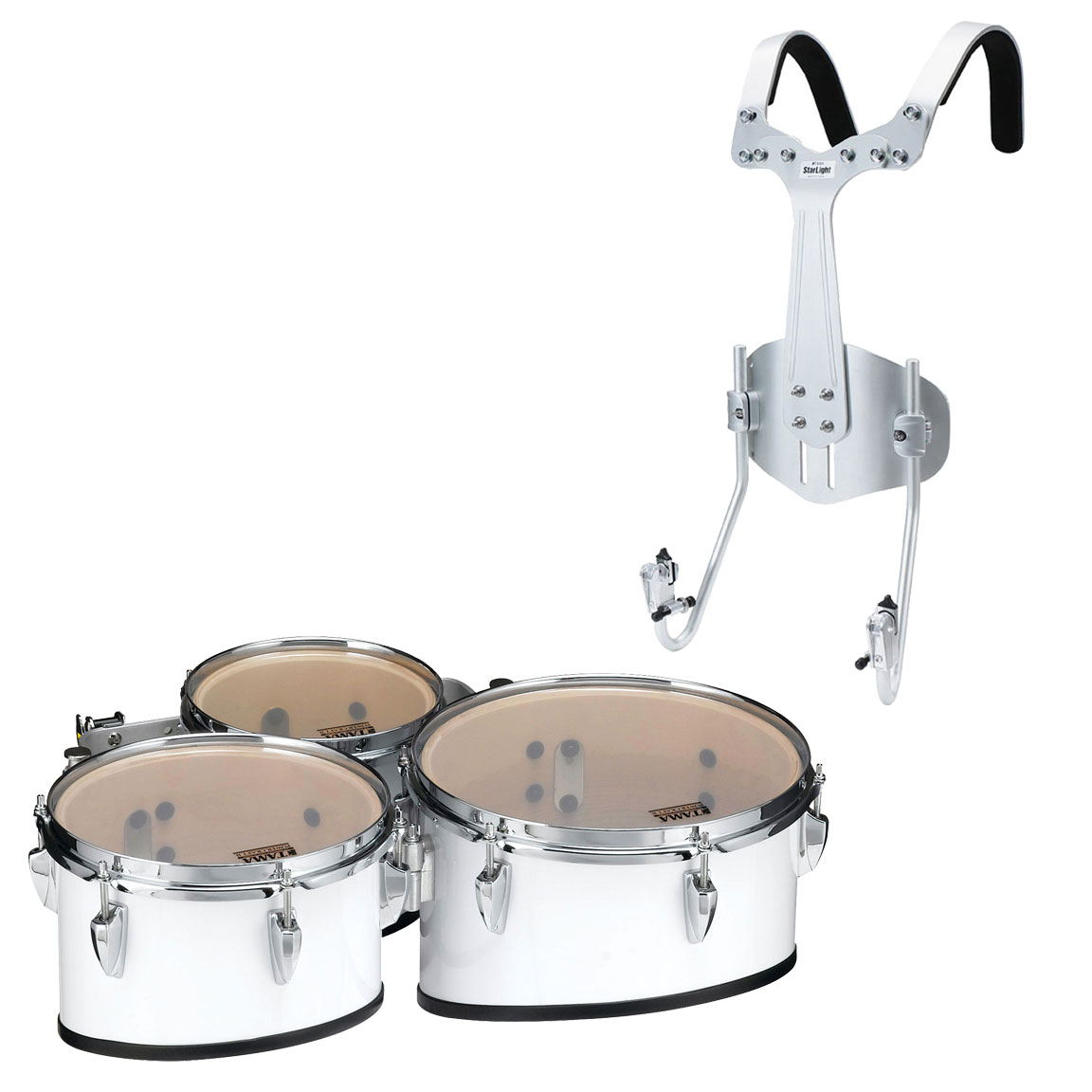"Tama 8-10-12"" StarLight Marching Tenors in Sugar White Wrap with Carrier"
