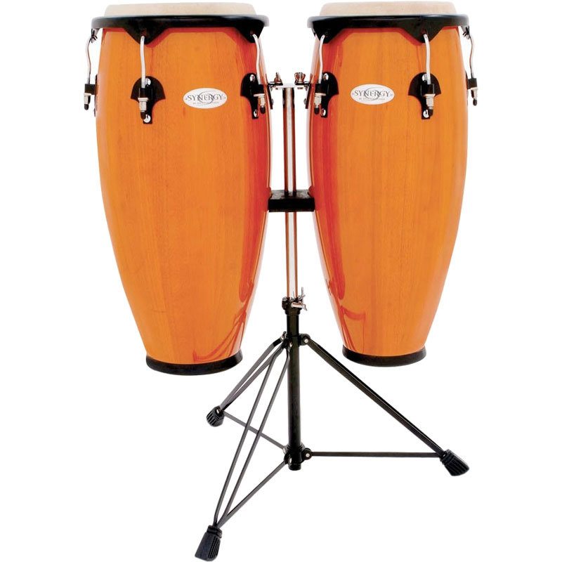 """Toca 10"""" & 11"""" Synergy Congas with Double Stand in Amber"""