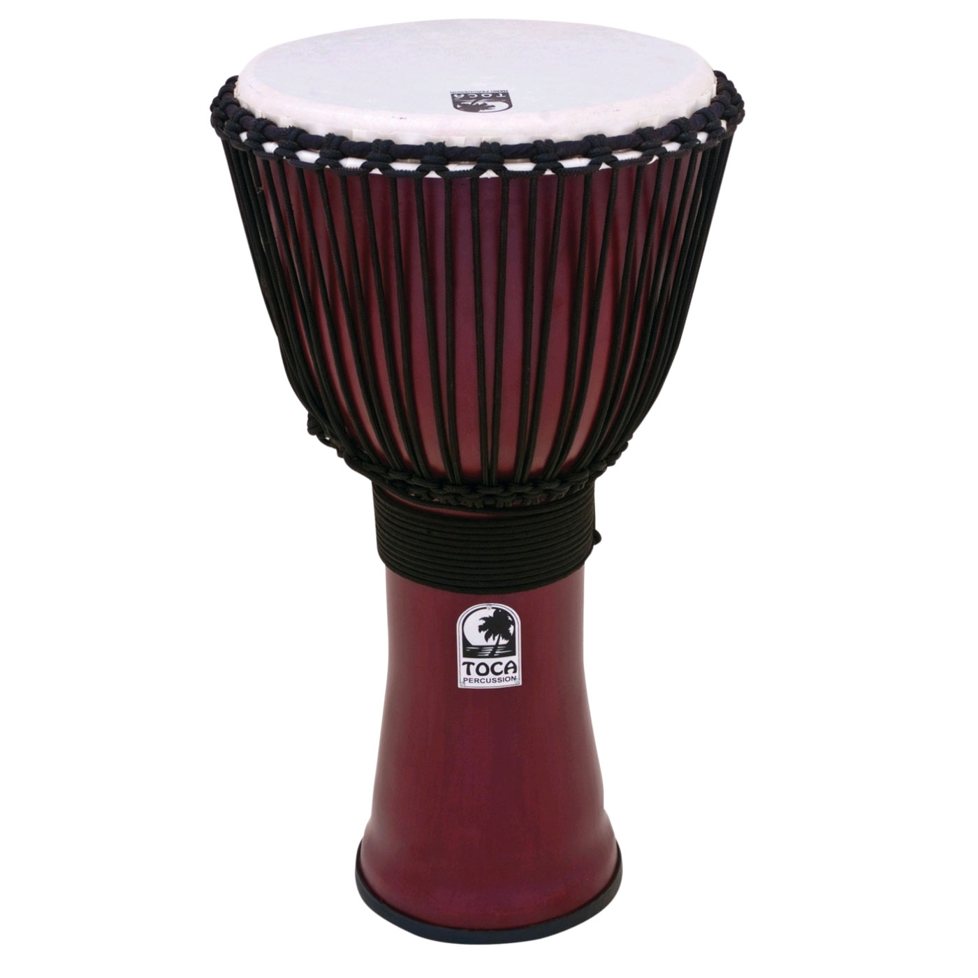 """Toca 12"""" Freestyle II Rope-Tuned Djembe in Deep Red"""