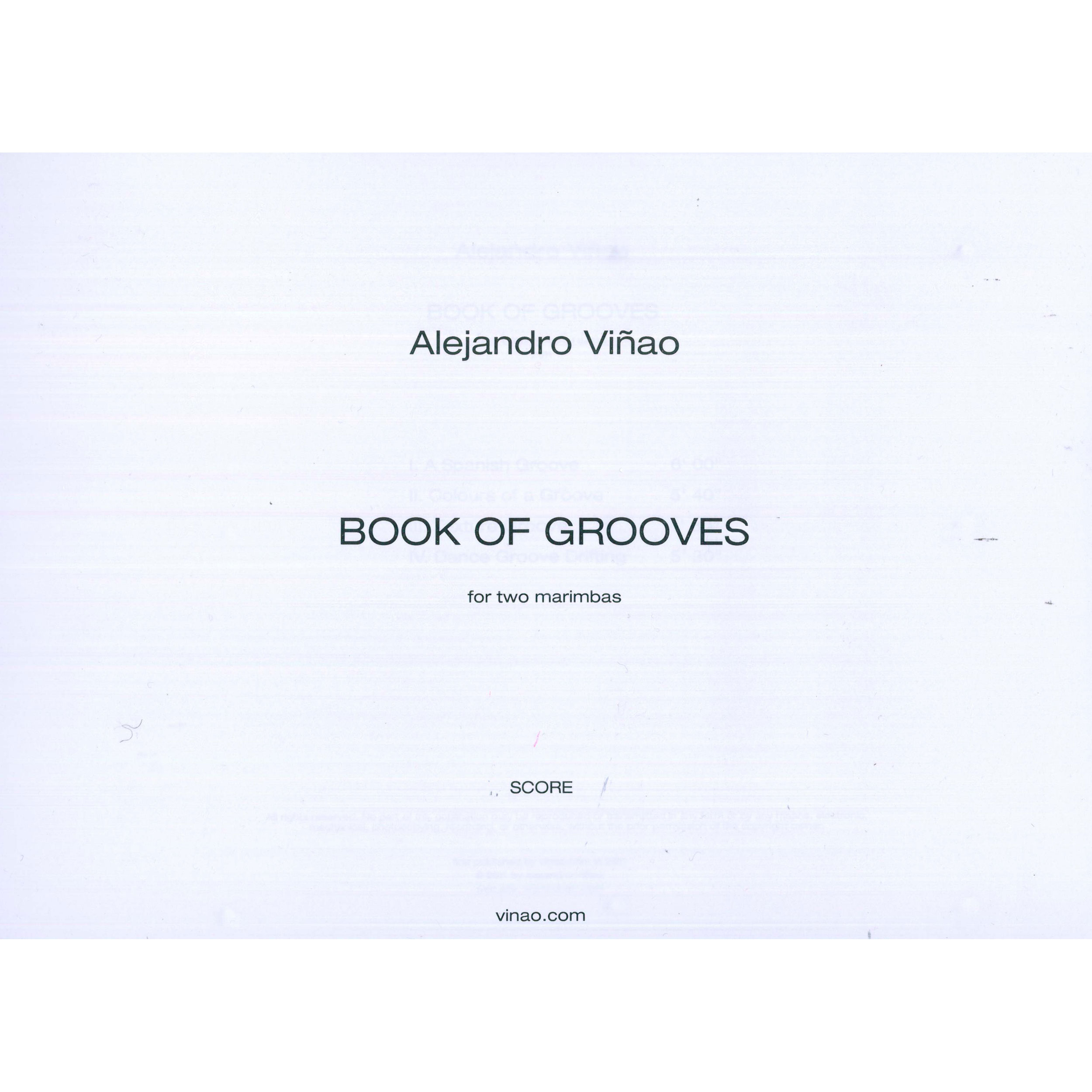 Book of Grooves by Alejandro Vinao (Score)
