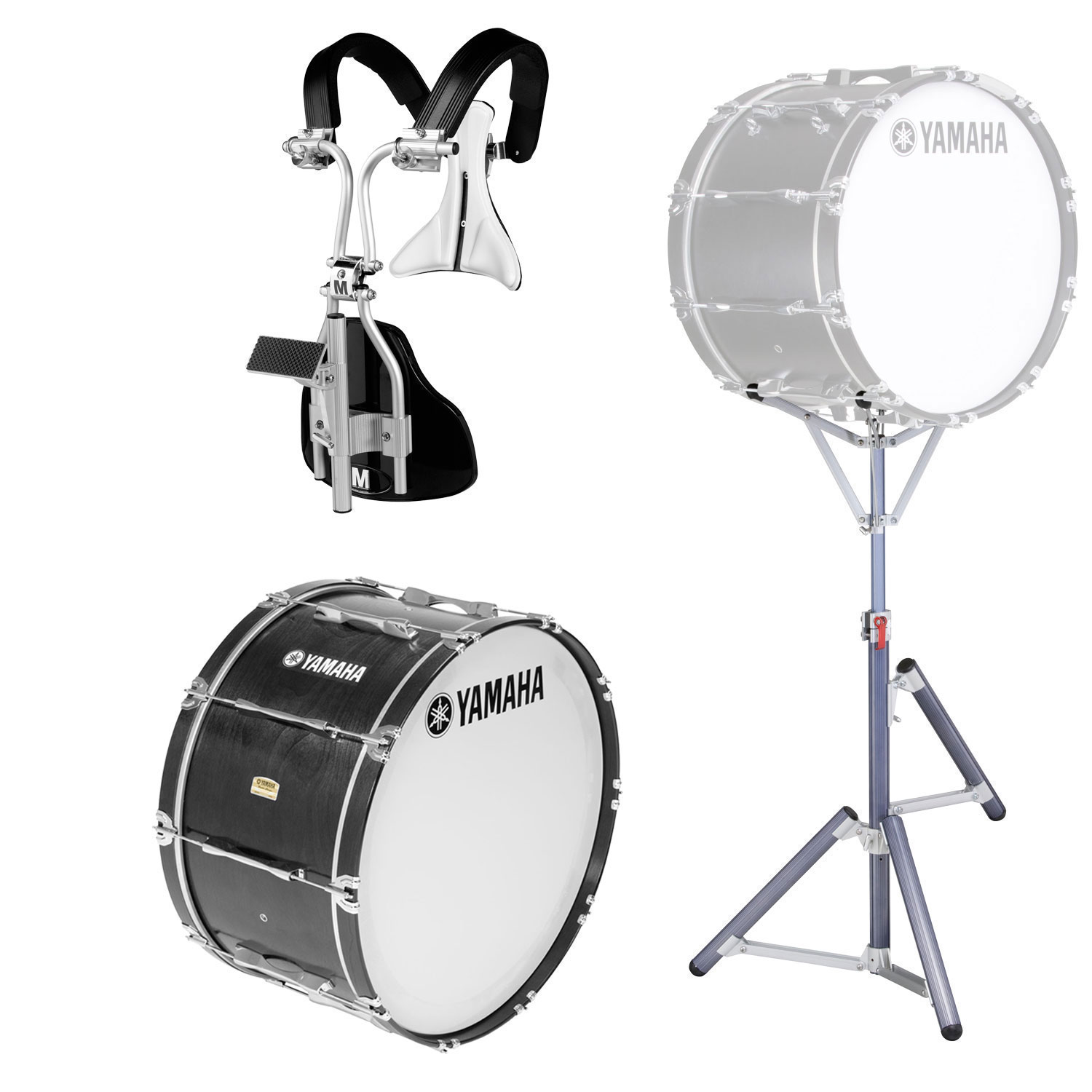 "Yamaha 30"" 8300 Field-Corps Marching Bass Drum with MonoPosto Carrier and Stand in Black Forest (Used)"