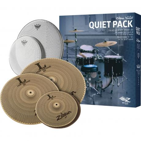 Zildjian/Remo Quiet Pack 3-Pc Cymbal Box Set (Hi Hats, Crash, Ride) with Silentstroke Drum Heads
